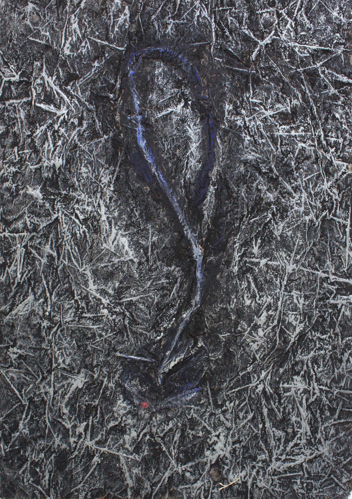 Landschaft, 1991/2003, farbige Reibung, Acryl, Bronce, Grasfüllung auf Konsumeinwickelpapier