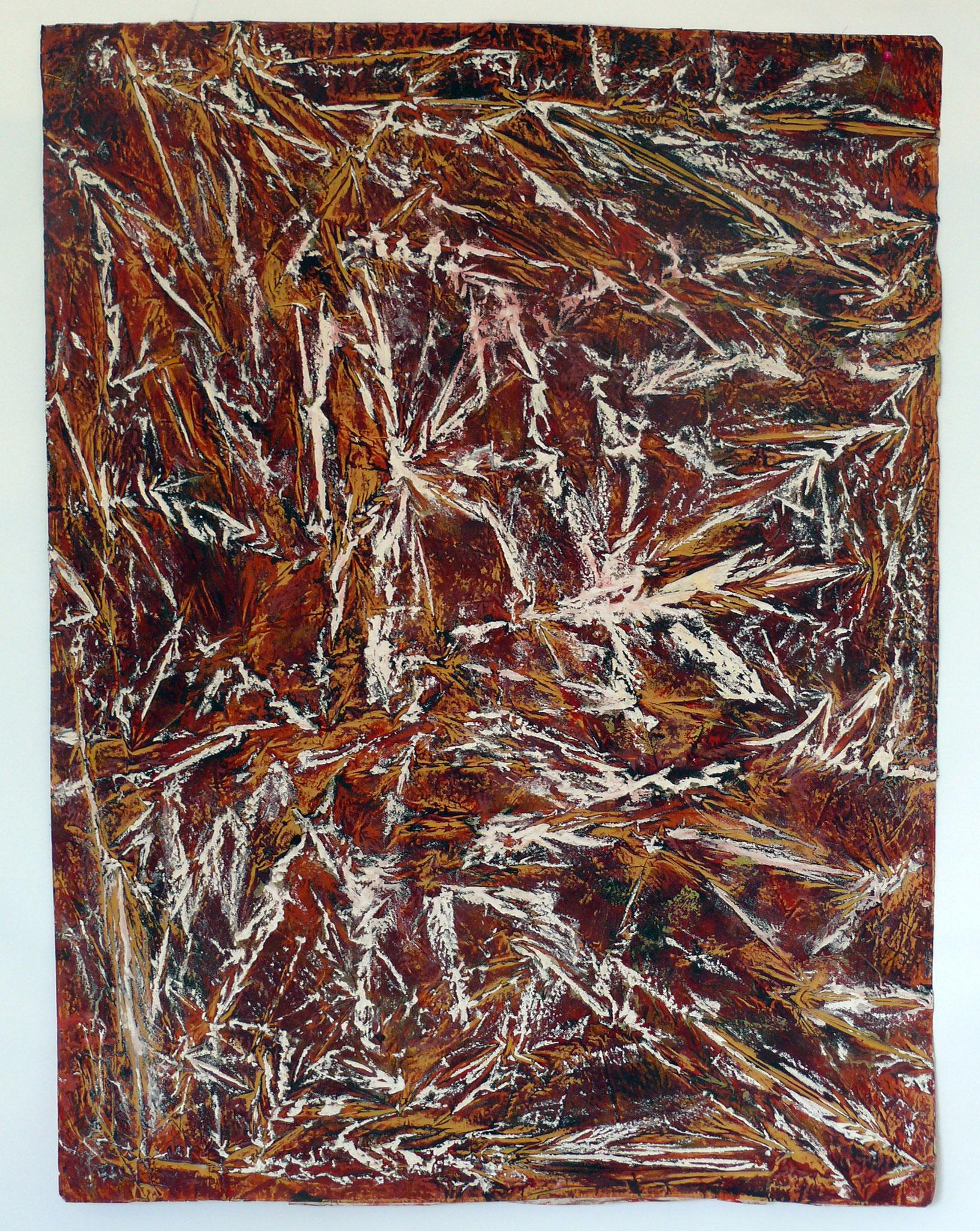 Landschaft, 1991/2003, farbige Reibung, Kalk, Acryl, Erde, Pigment, Strohfüllung auf Konsumeinwickelpapier