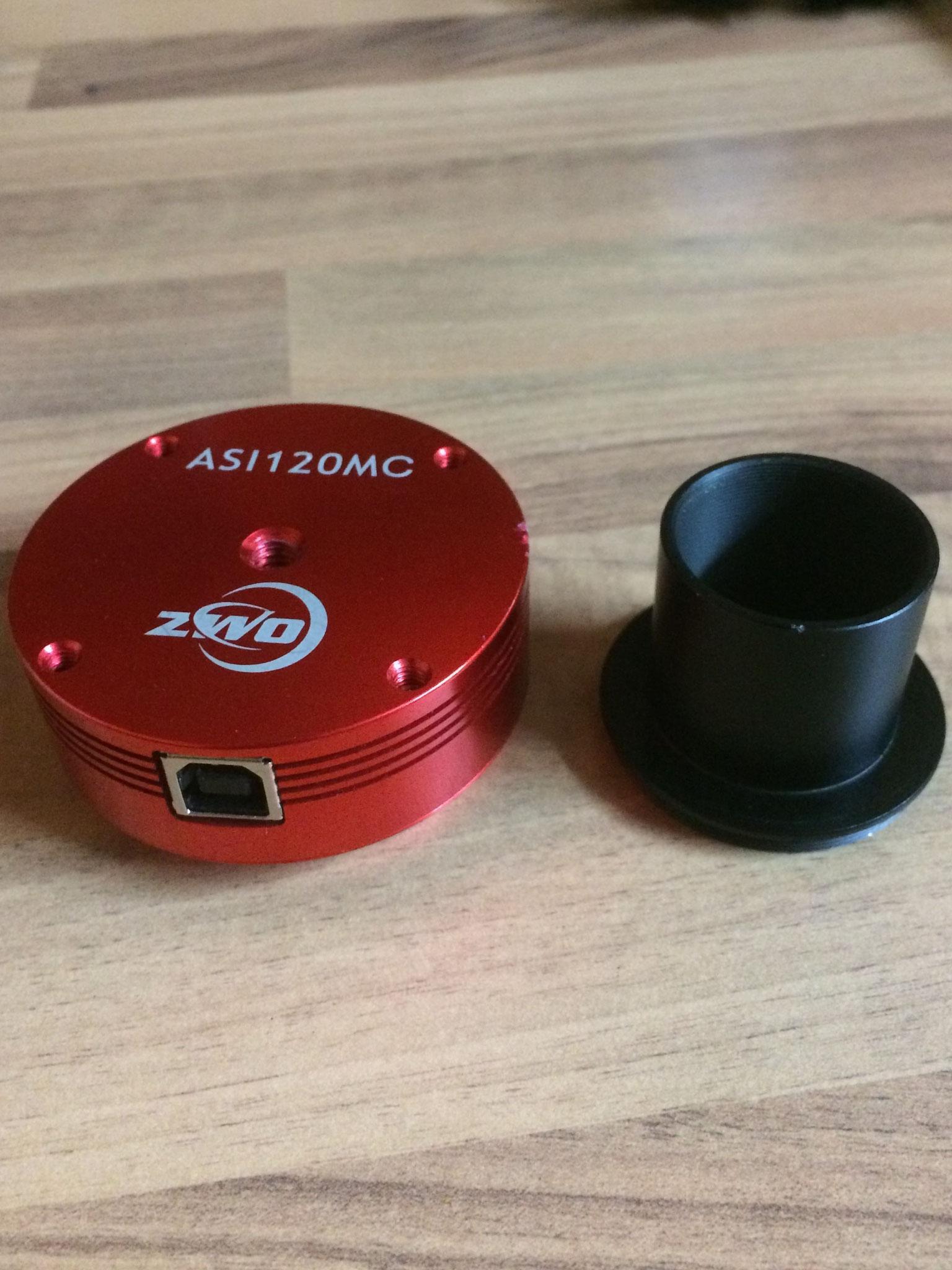 ASI 120MC Farbkamera mit CMOS Chip zur Fotografie von intersolaren Objekten (Ansteuerung nur via PC möglich)