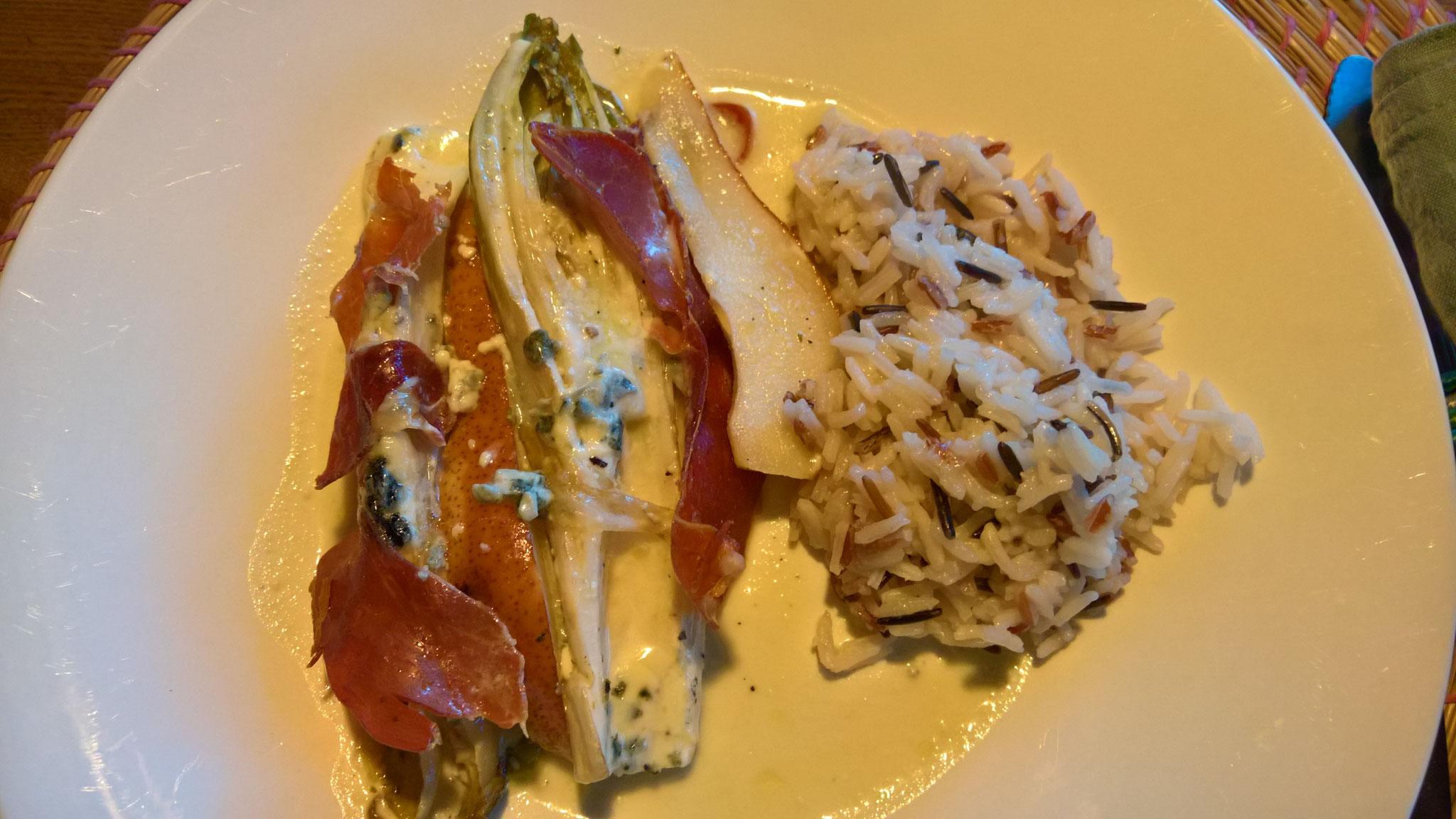 Chicorée aus dem Ofen, überbacken mit Landrauchschinken - jammi!