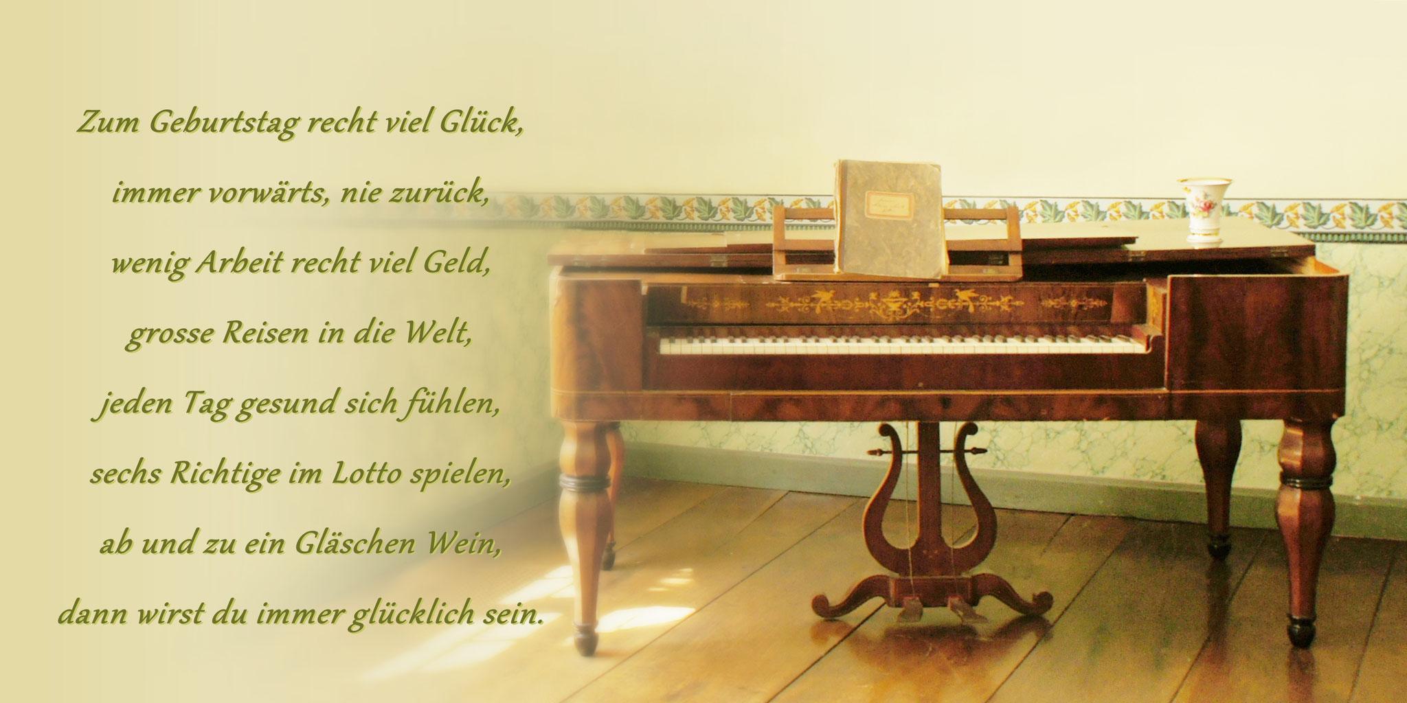 """Karte GTK 7  """"altes Klavier"""" (beige) mit Umschlag DIN lang"""