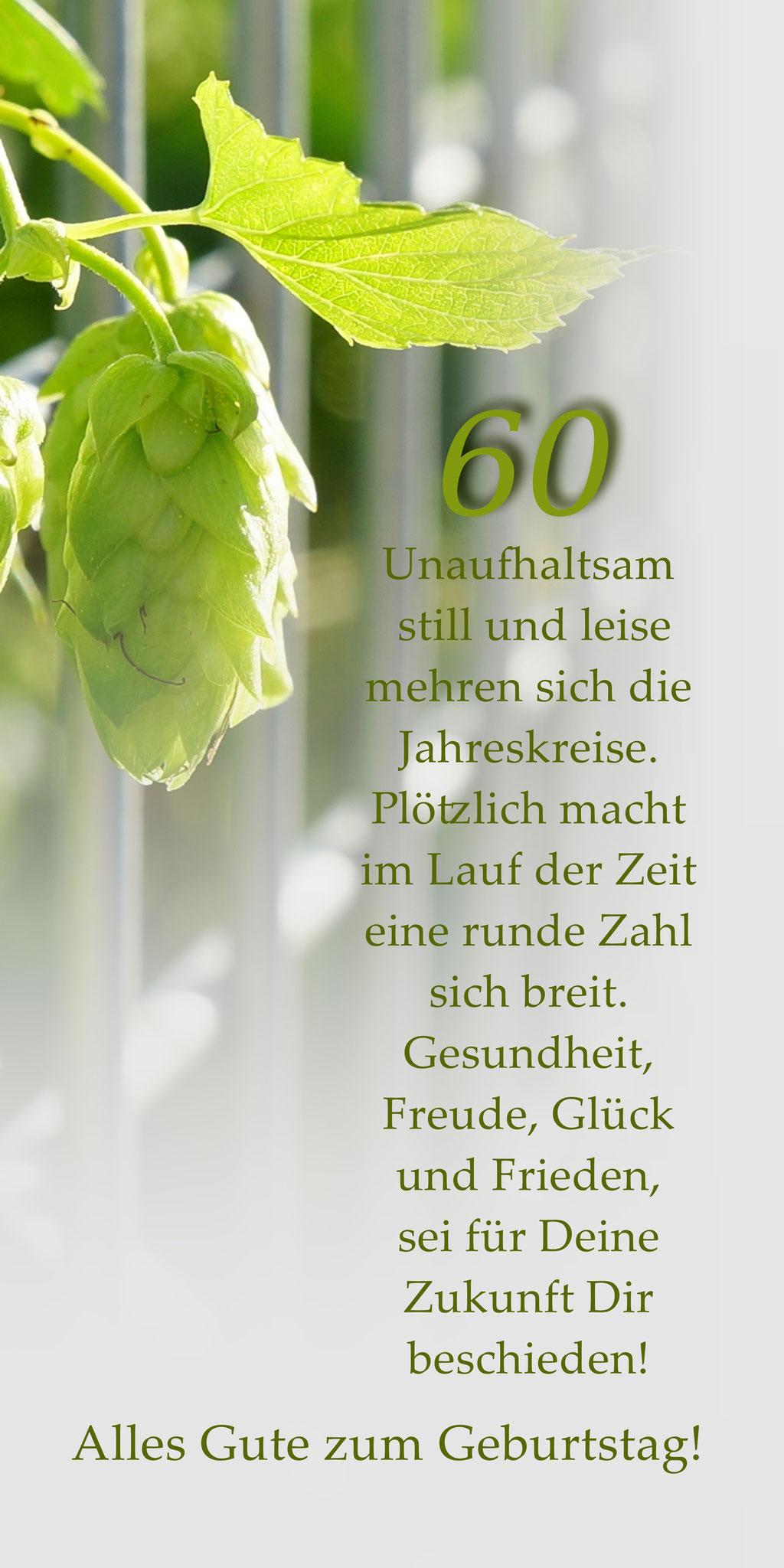 "Klappkarte GTK 60  zum runden Geburtstag  ""Hopfendolde Zaun"