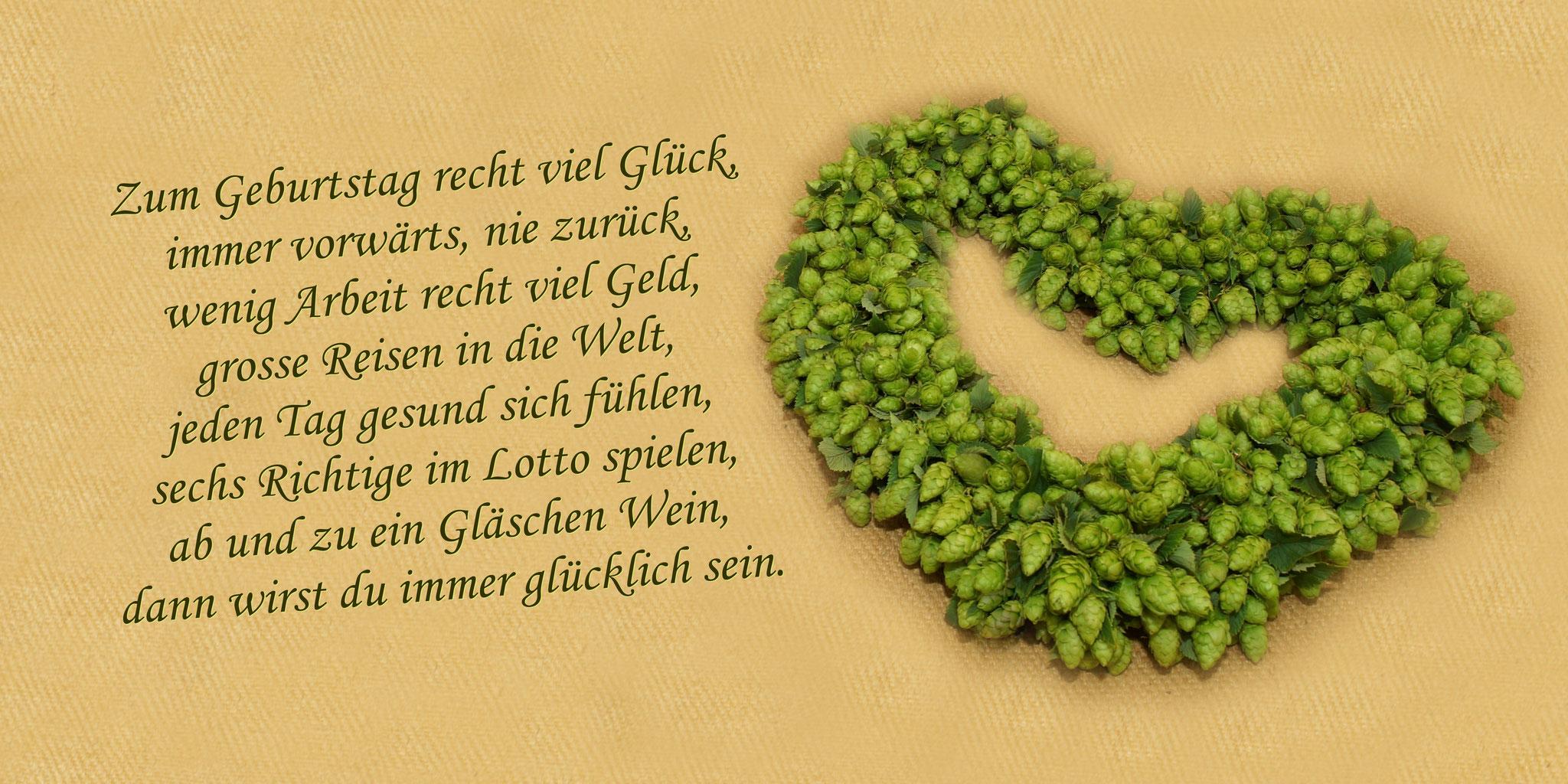 """Karte GTK 2 """" Hopfenherz/grün"""" mit Umschlag  DIN  lang"""