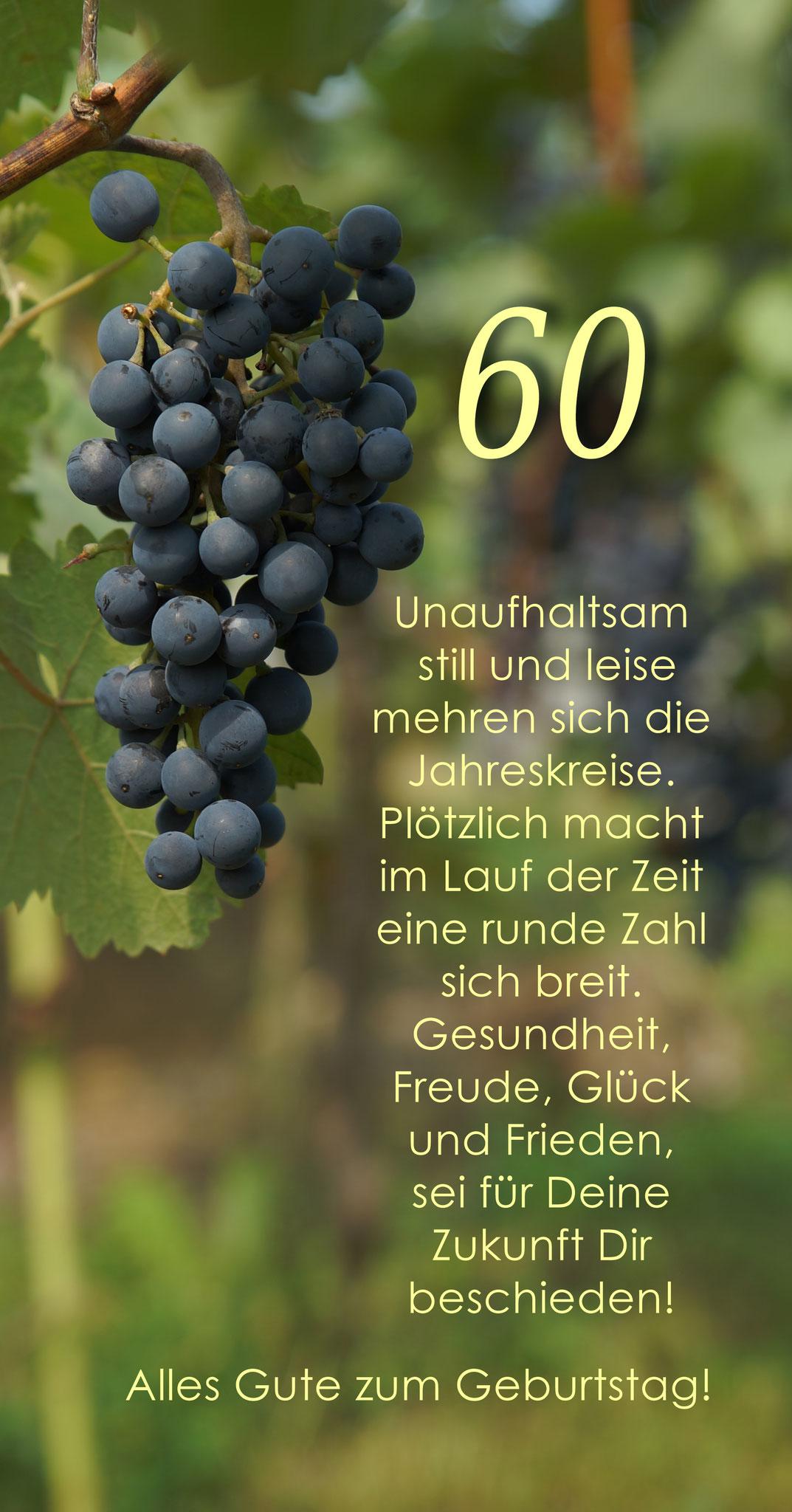 Karte GTK 60 Weinrebe zum runden Geburtstag