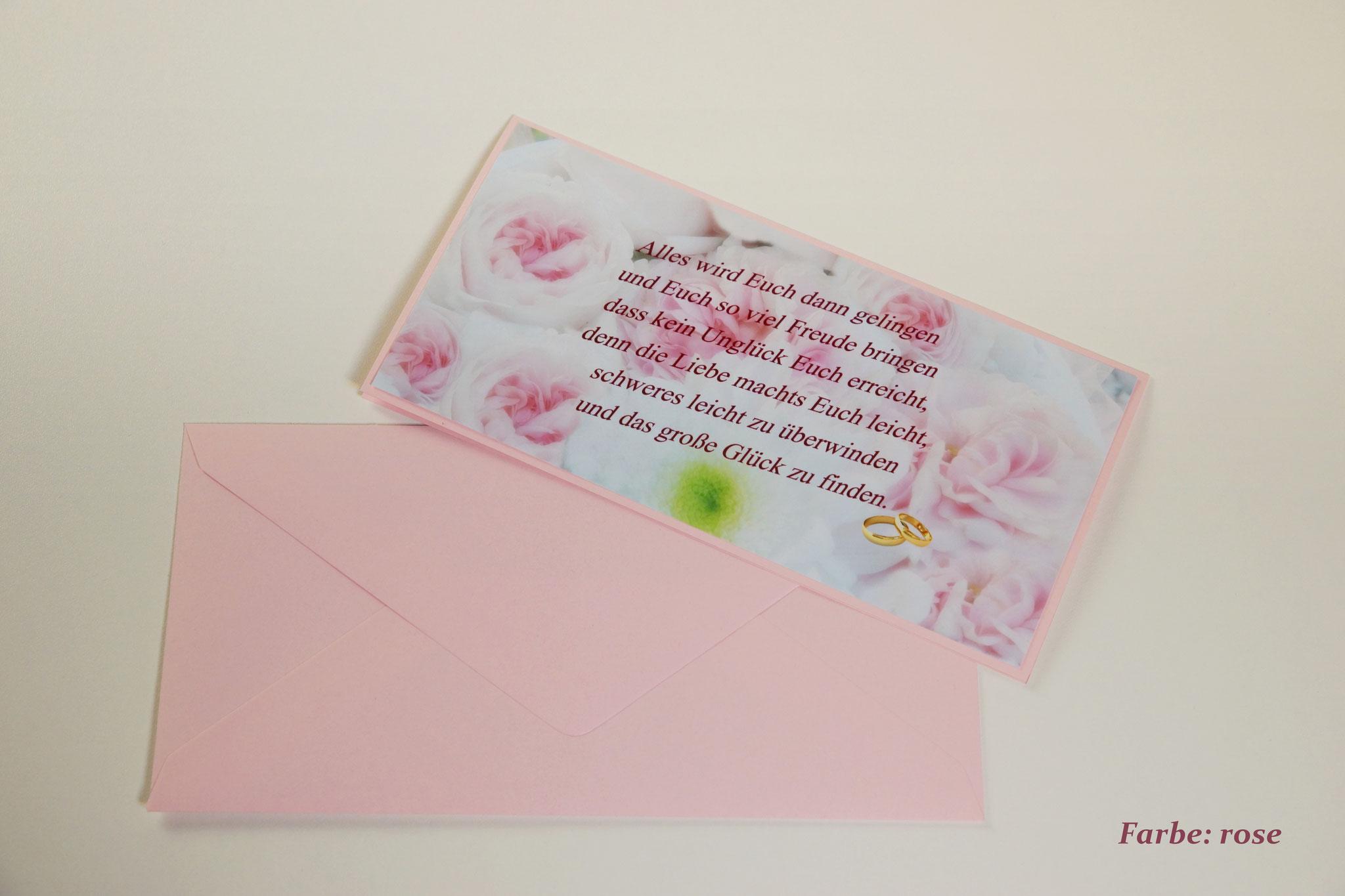 """Karte HZ-K2  """"Blüten""""  mit Umschlag Din lang rosé"""