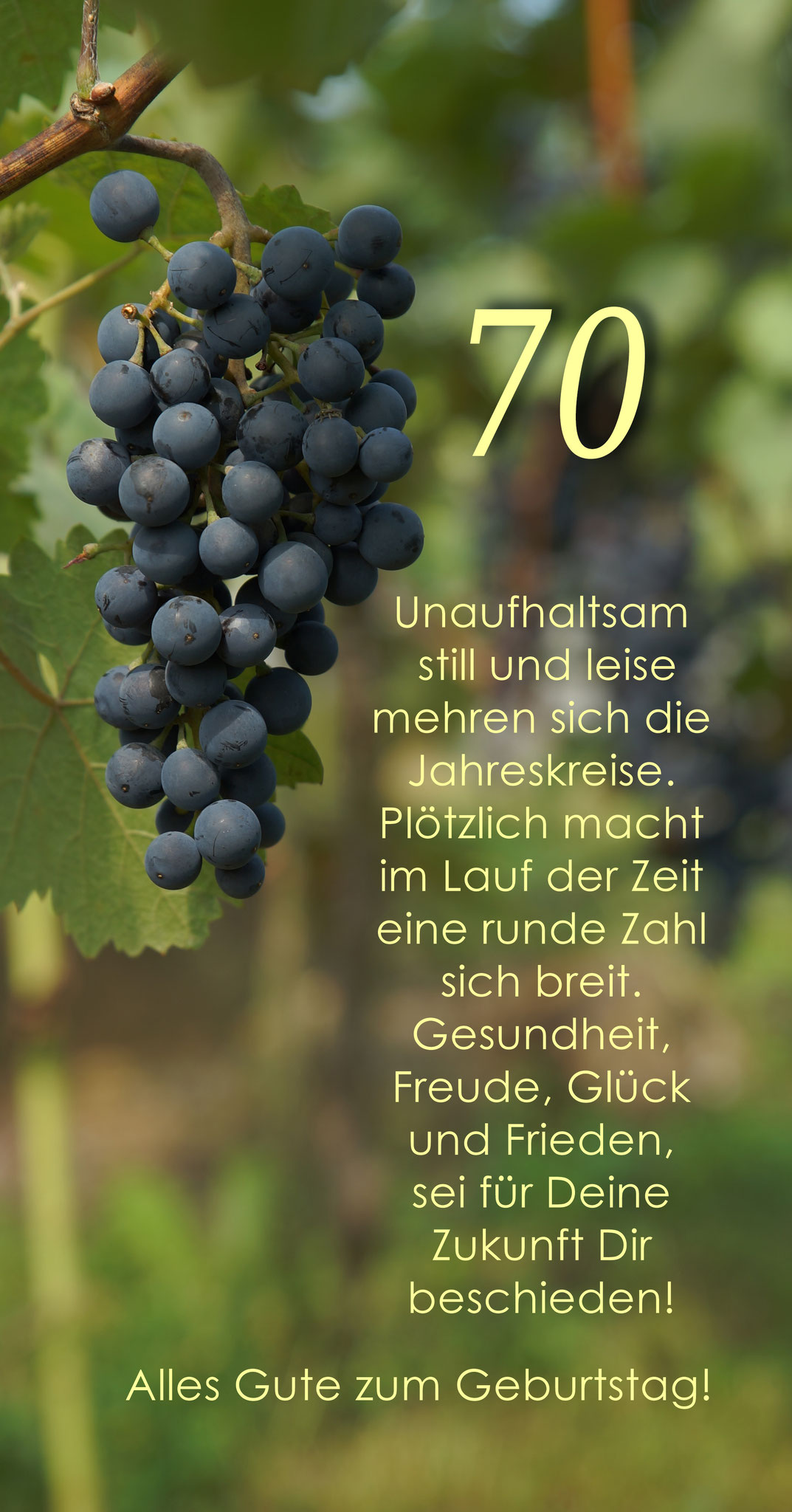 Karte GTK 70 Weinrebe zum runden Geburtstag