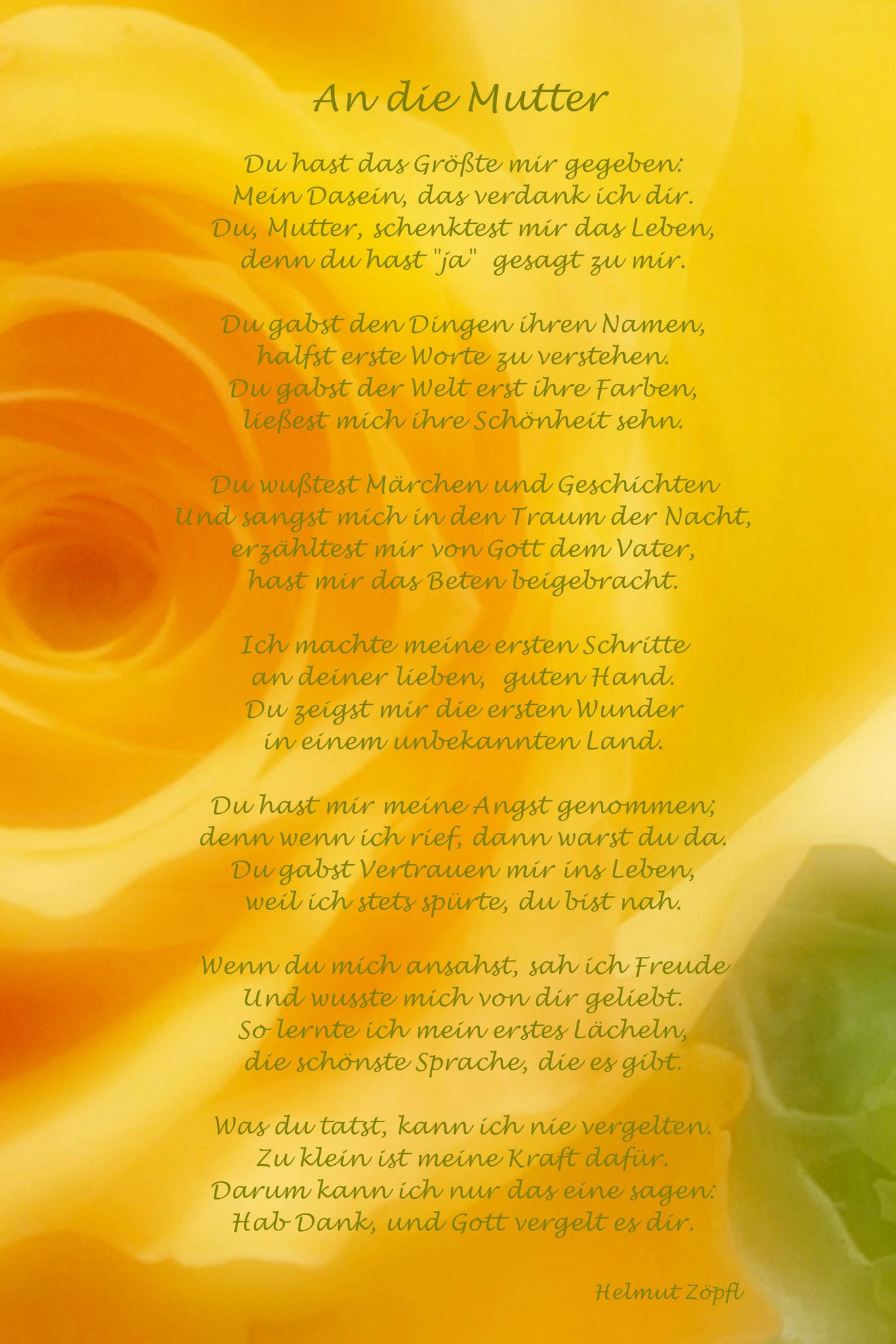 "An die Mutter ""Rosenblüte gelb """