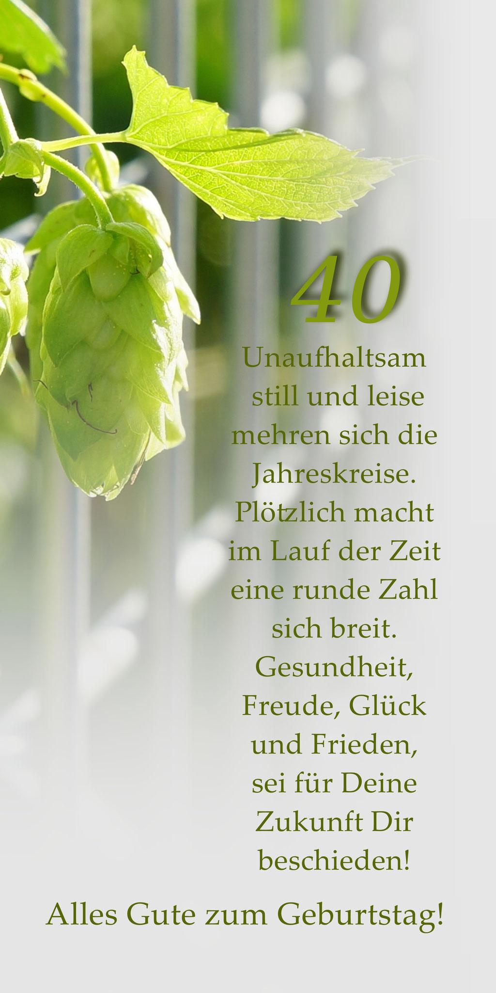 "Klappkarte GTK 40  zum runden Geburtstag  ""Hopfendolde Zaun"