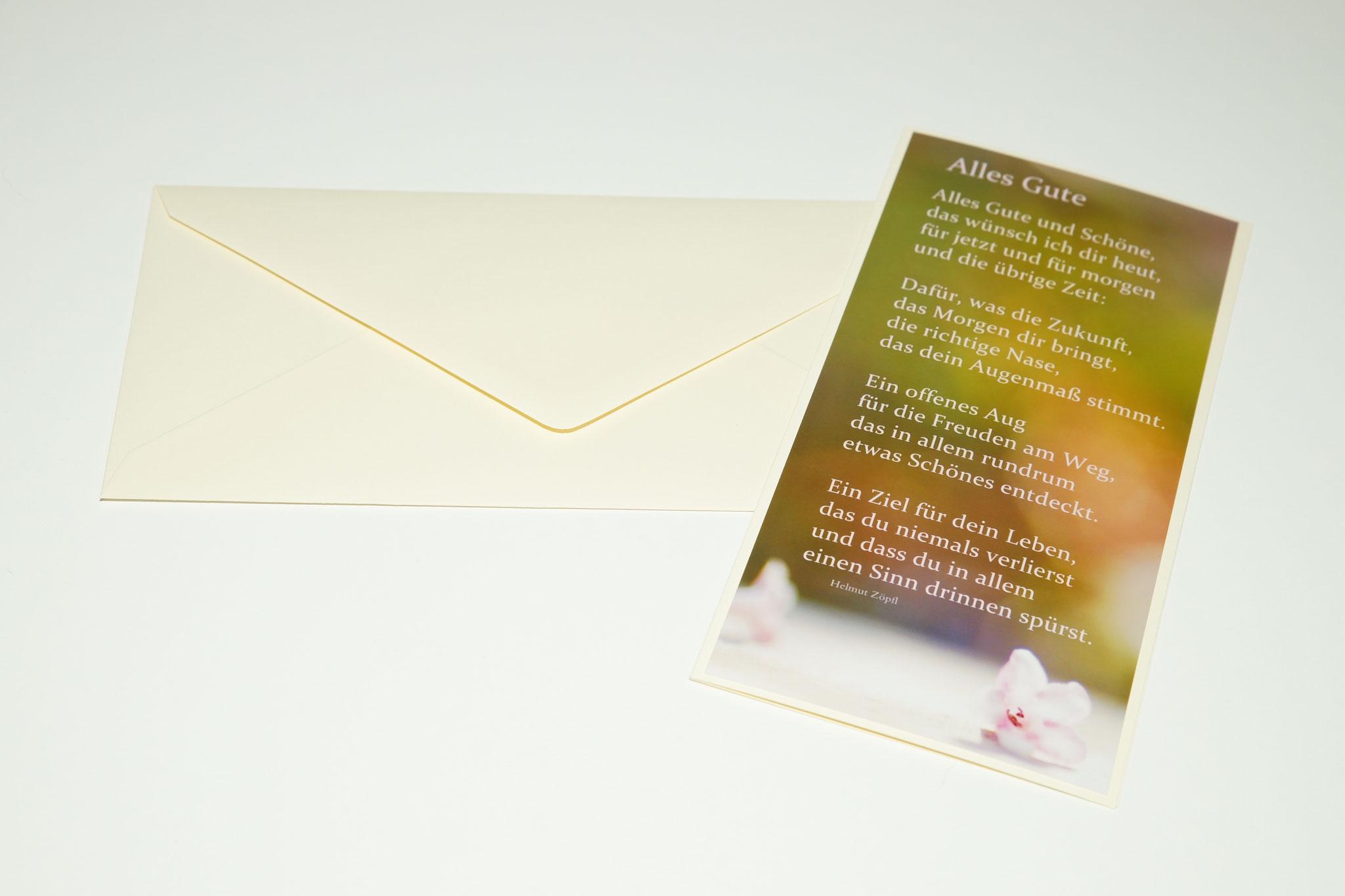 """Karte GTK 5 """"Alles Gute..."""" (beige) mit Umschlag DIN lang"""