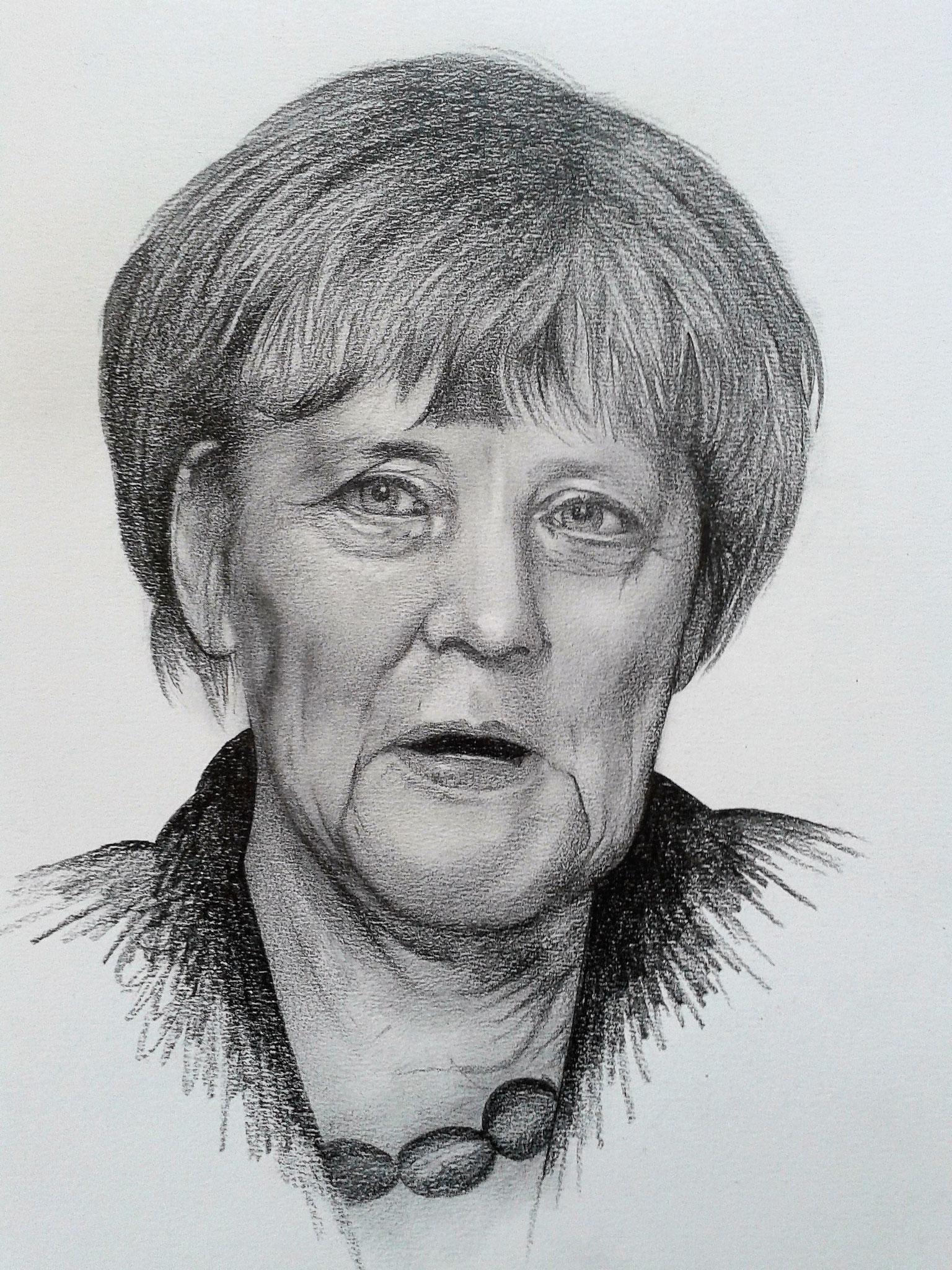 Angela Merkel -  Bleistift und Kohle