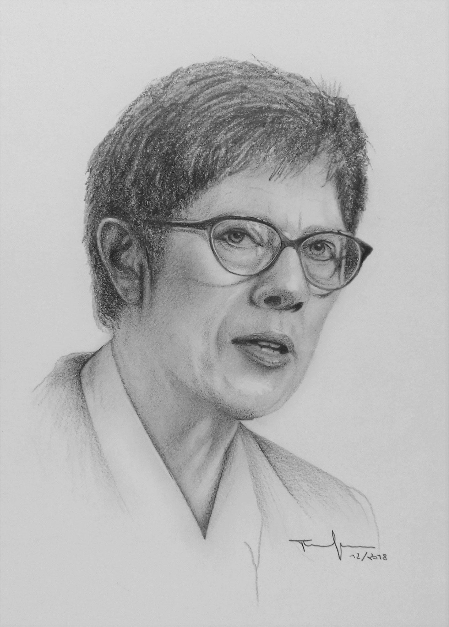 Annegret Kramp - Karrenbauer  Bleistift und Kohle
