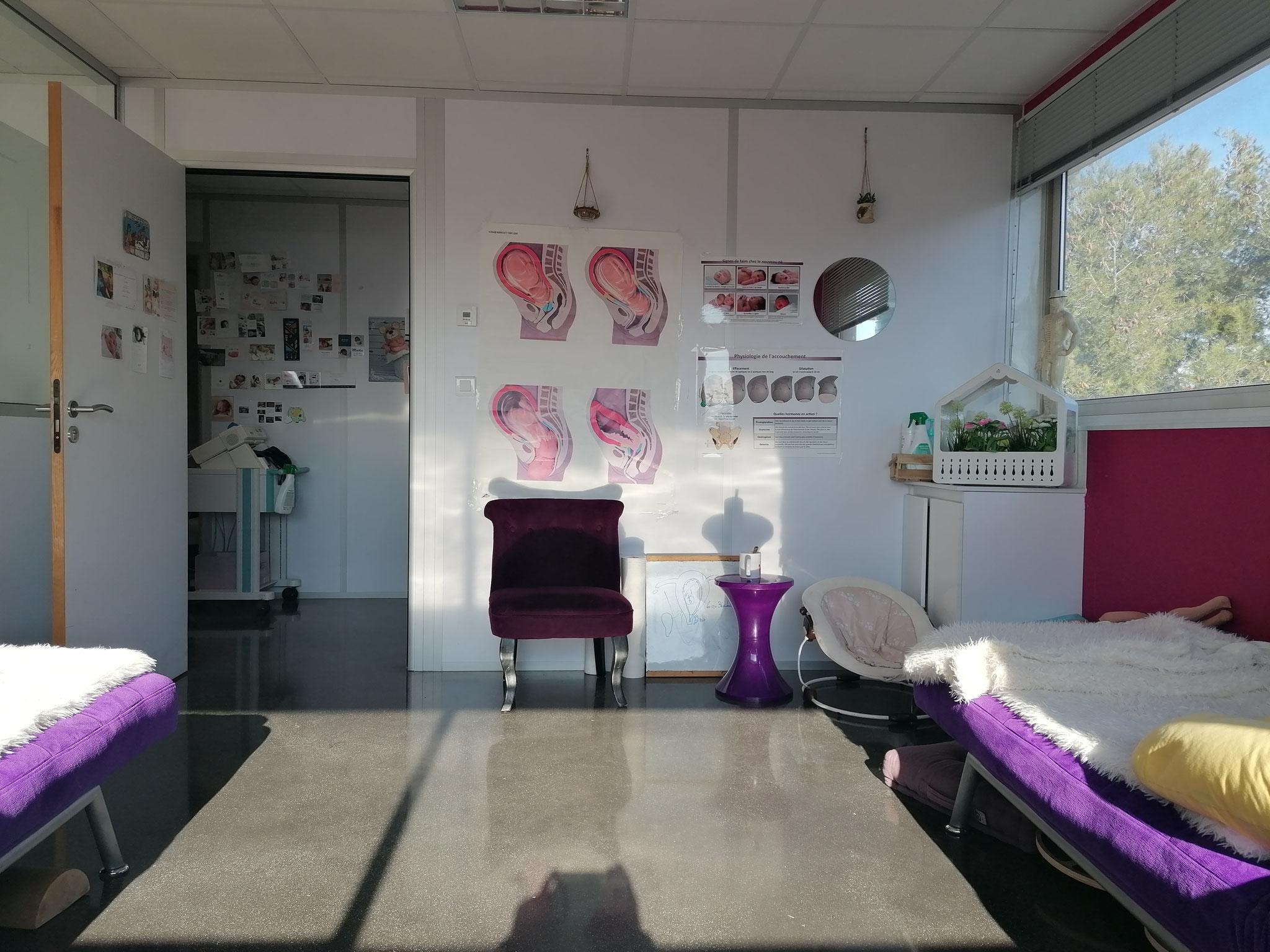 La salle de préparation à l'accouchement