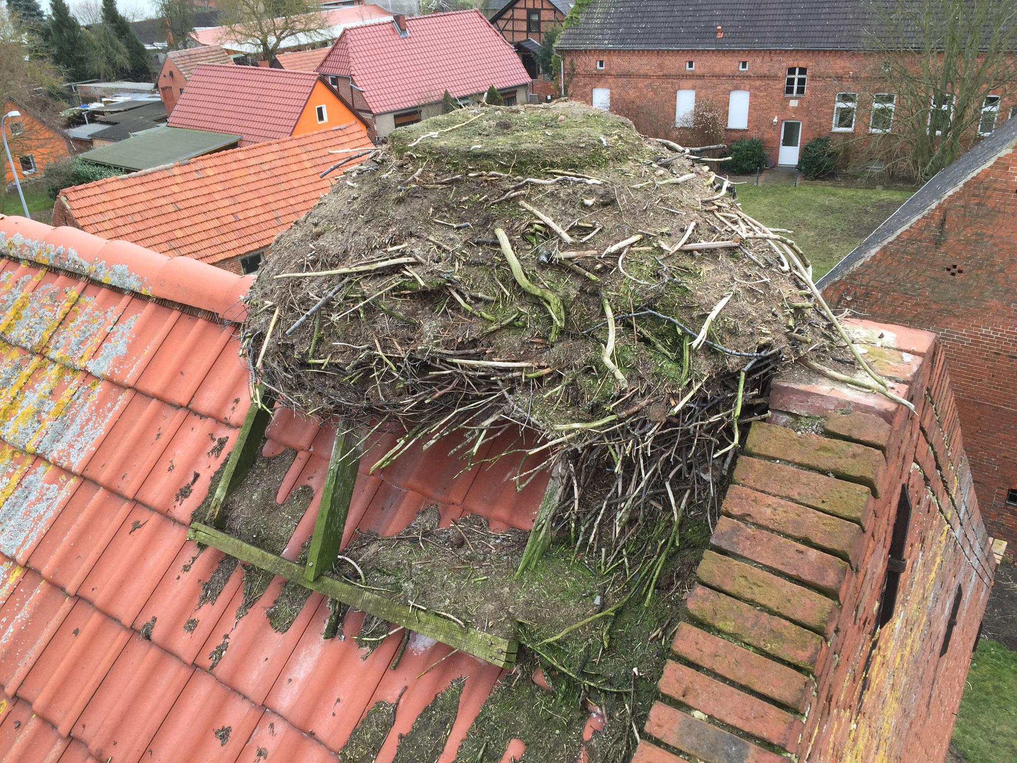 Rühstädt: Dieses Nest wird seit letzter Saison nicht mehr bewohnt. Das Gestell ist verrottet und das Nest musste neu aufgebaut werden (VORHER).