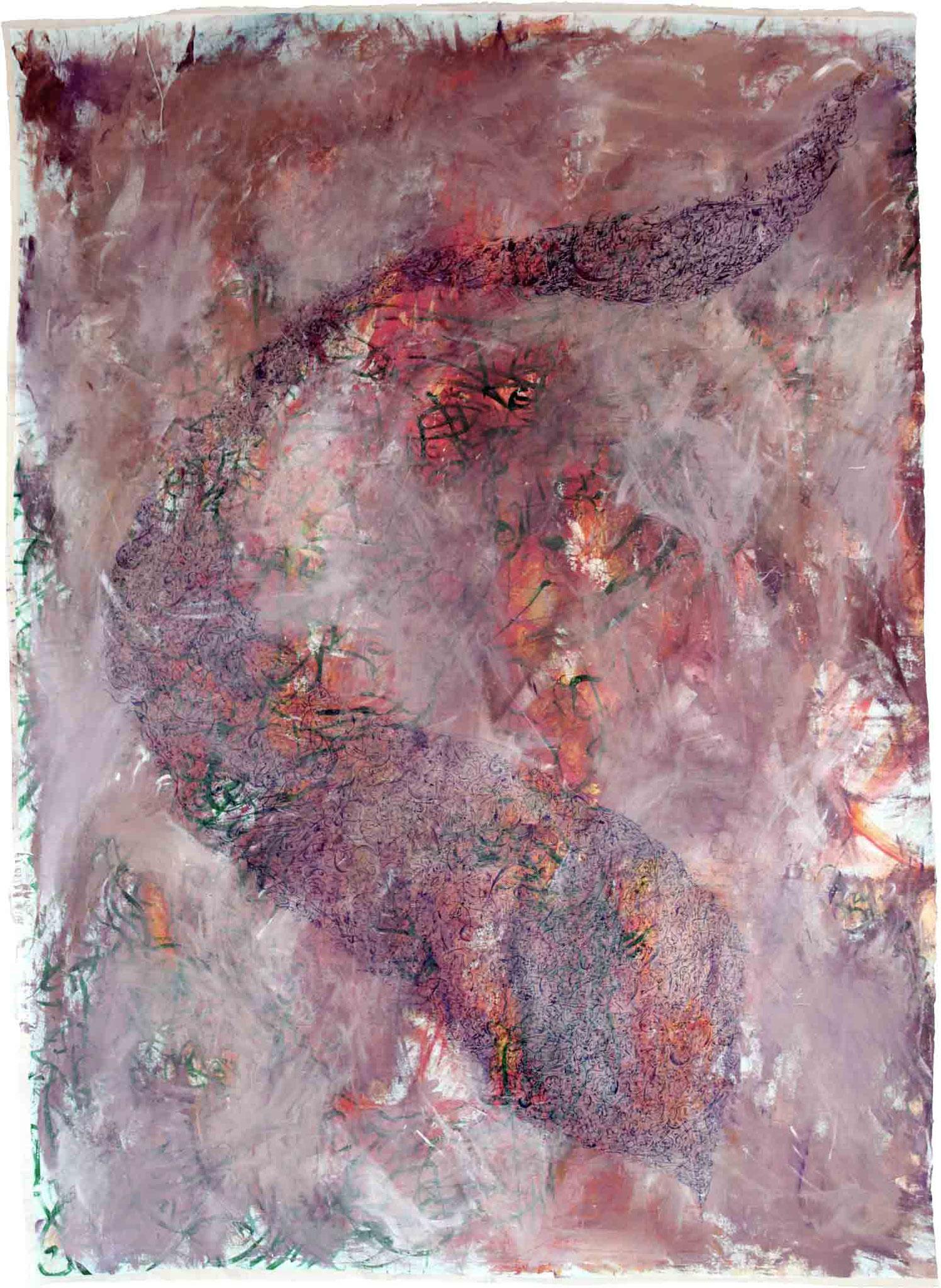 ohne Titel 1, 2012, Mischtechnik auf Leinwand, 202 x 144 cm