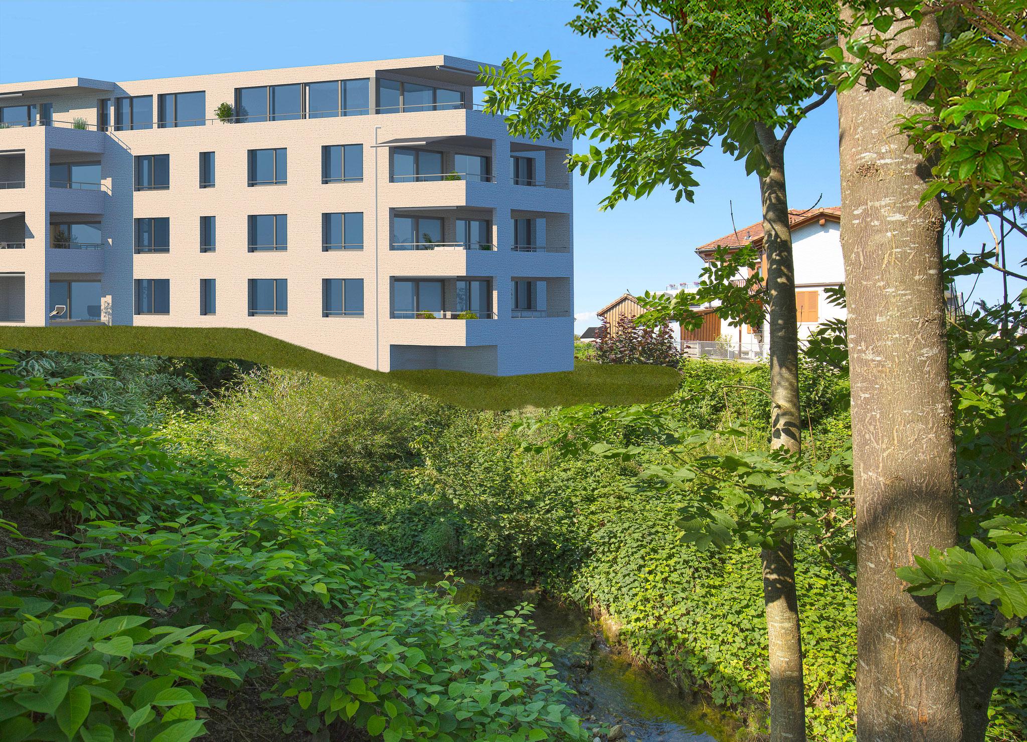 Der Baukörper mit seinen loggiaartigen Terrassen und Balkonen ist natürlich in die schöne Umgebung eingebettet.