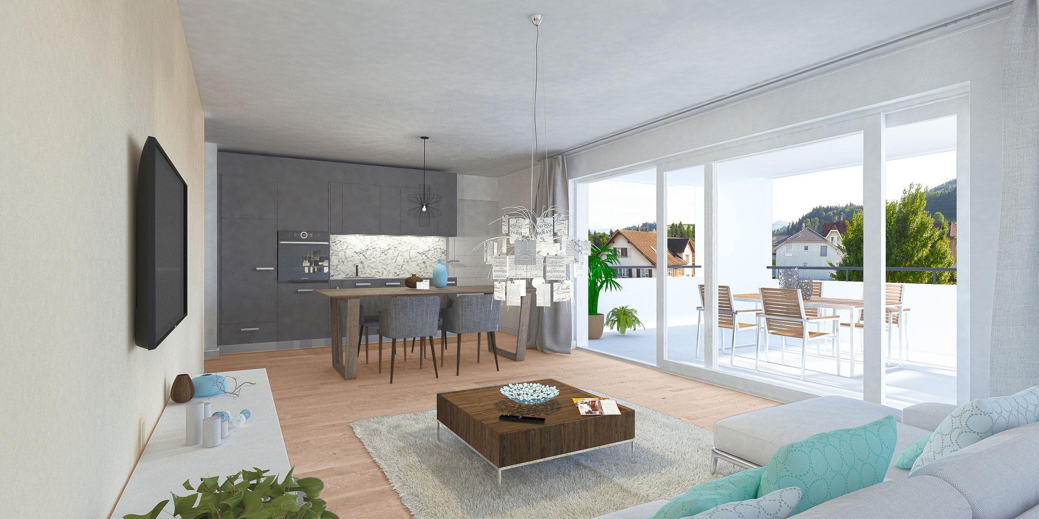Alle 2 ½-Zi-Wohnungen sind loftartig – nur mit einer trennenden Küchenzeile – konzipiert.