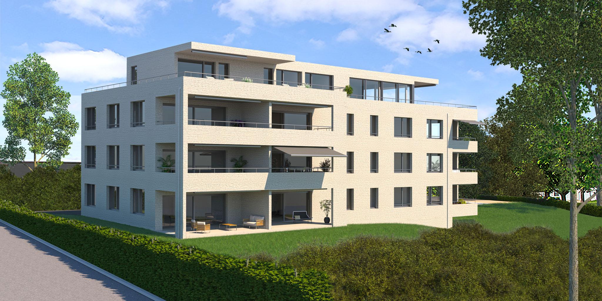 Das viergeschossige Gebäude ist mit zehn Wohneinheiten bestückt und verfügt über vier Grundrisstypen.