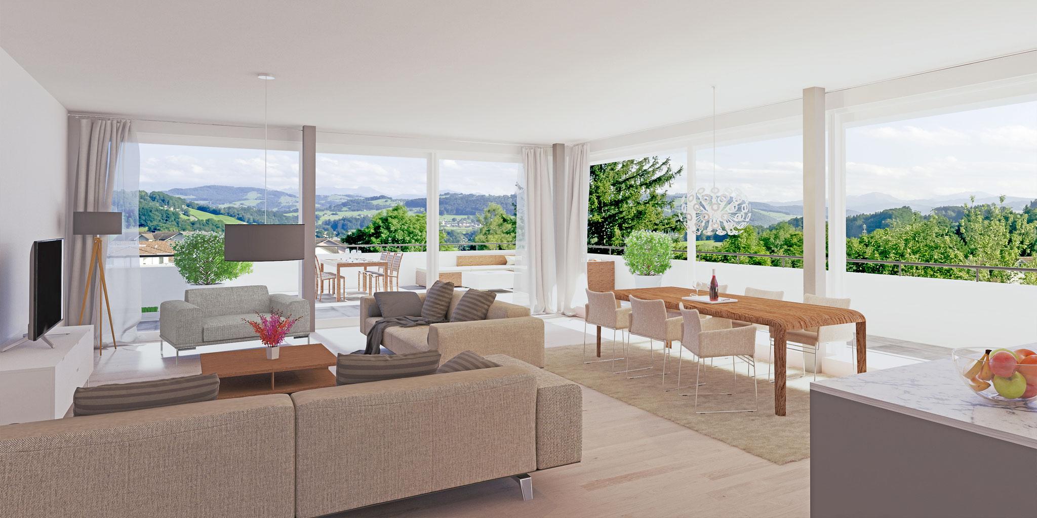 Alle 4 ½-Zi-Wohnungen bieten schönste Ausblicke in Richtung Alpstein.