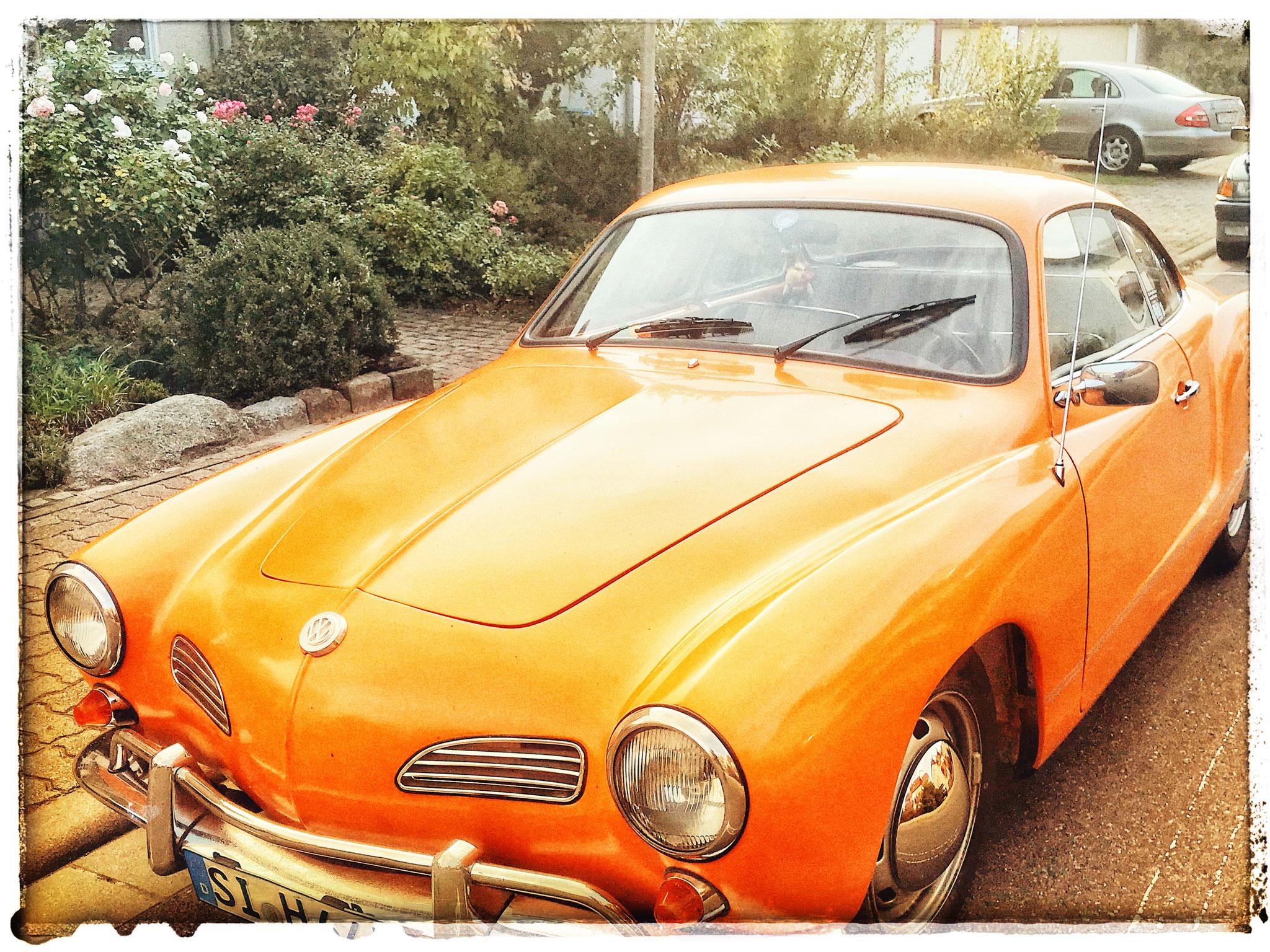 VW 1505 Kharmann Ghia in Orange. Carspotting Speyer