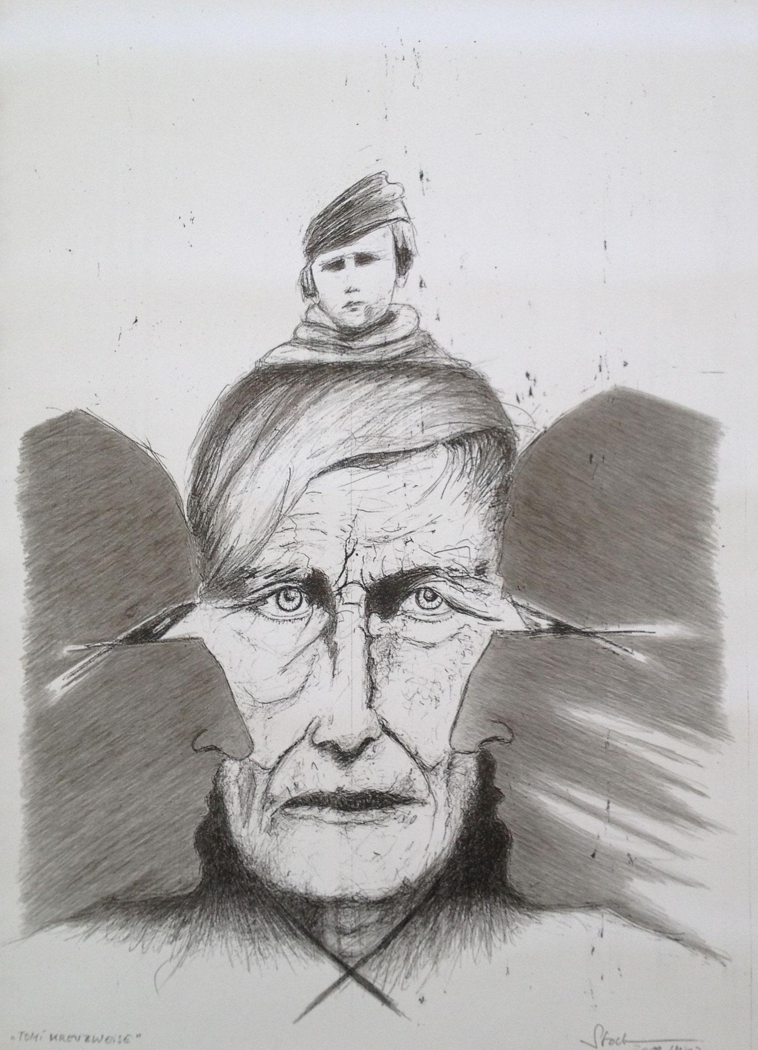 Tomi Ungerer kreuzweise 3, 2019, Mischtechnik , 40 x 30 cm (#1014)