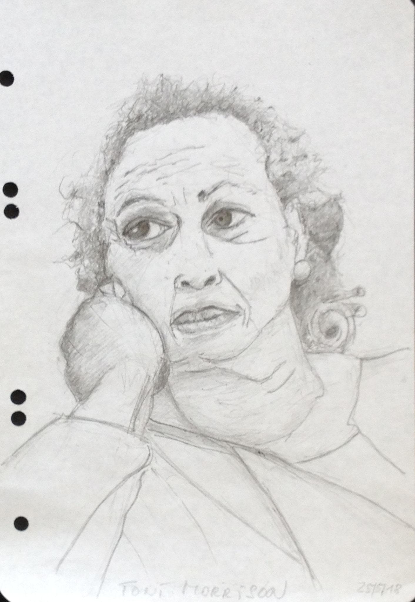 """""""Schwarze Sibylle"""" (Toni Morrison), 2018, Zeichnung, 40 x 30 cm (#951)"""