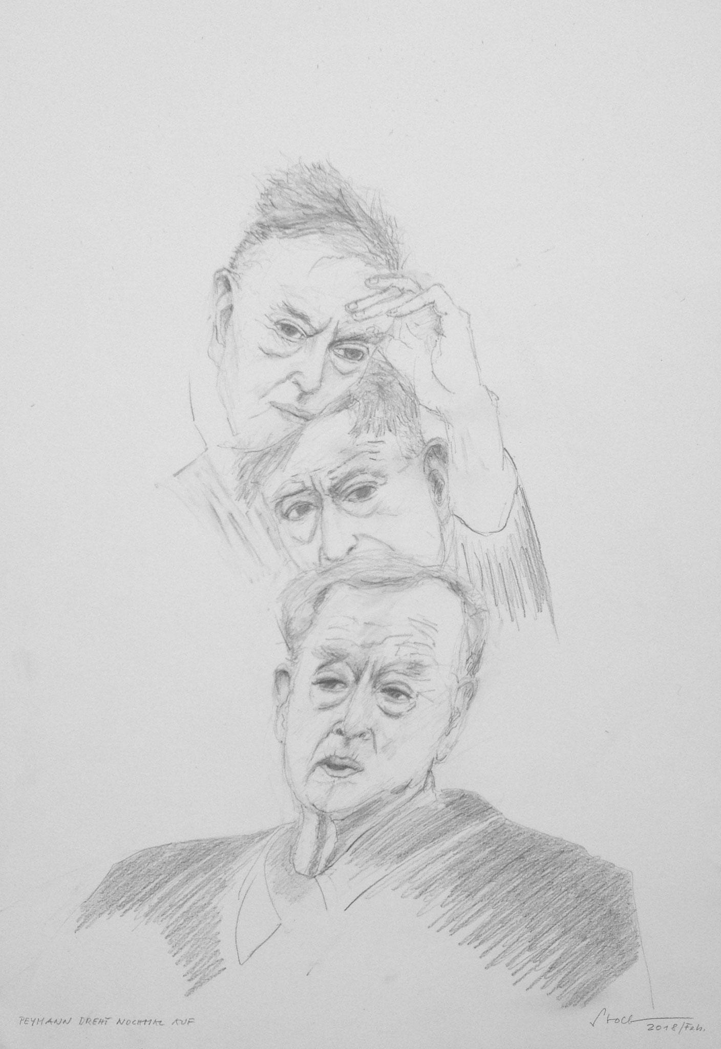 """Peymann dreht nochmal auf II"", 2018, Zeichnung, 40 x 30 cm (#841)"