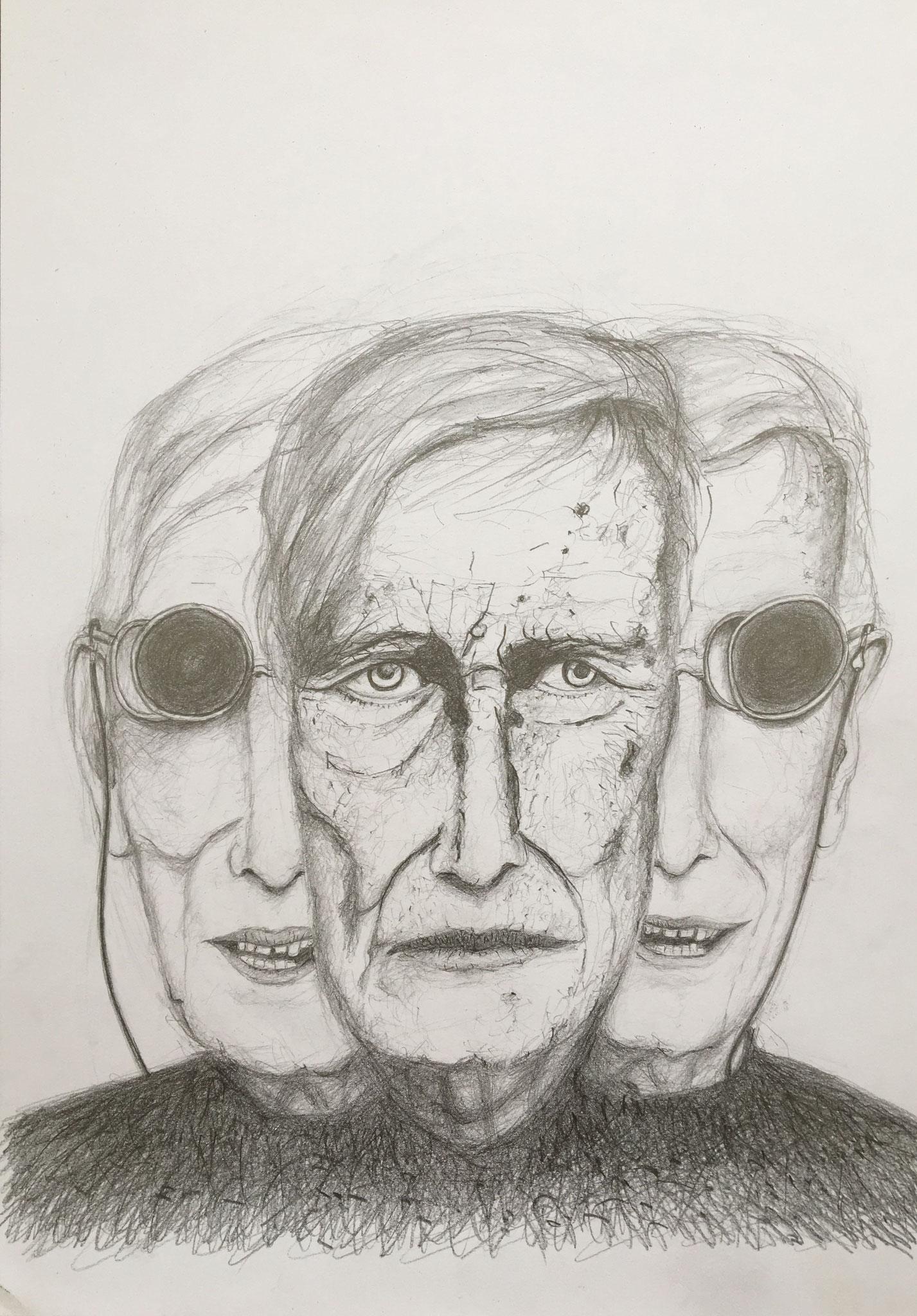 Tomi Ungerer, 3fach ist der Schritt der Zeit..., 2019, Zeichnung, 40 x 30 cm (#1016)