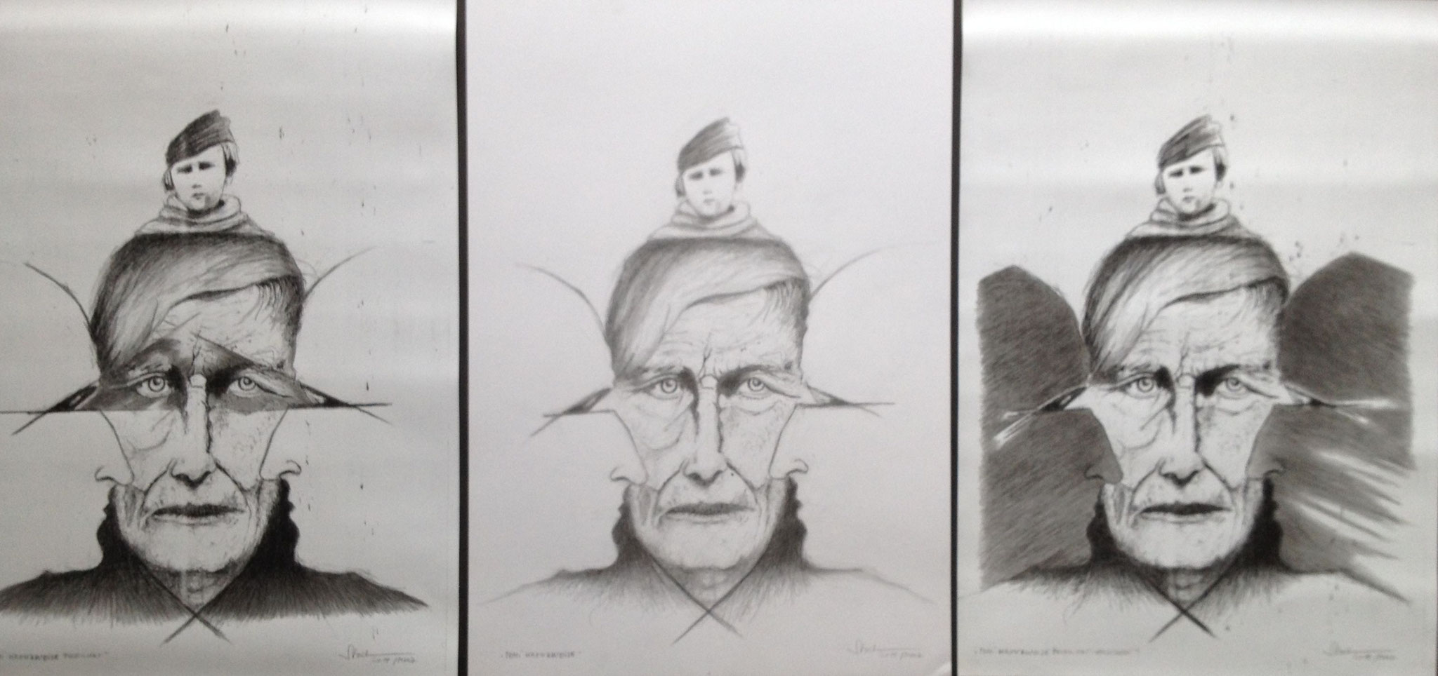 Tomi 3x kreuzweise, 2019, Mischtechnik, Zeichnung, 40 x 90 cm (#1012)