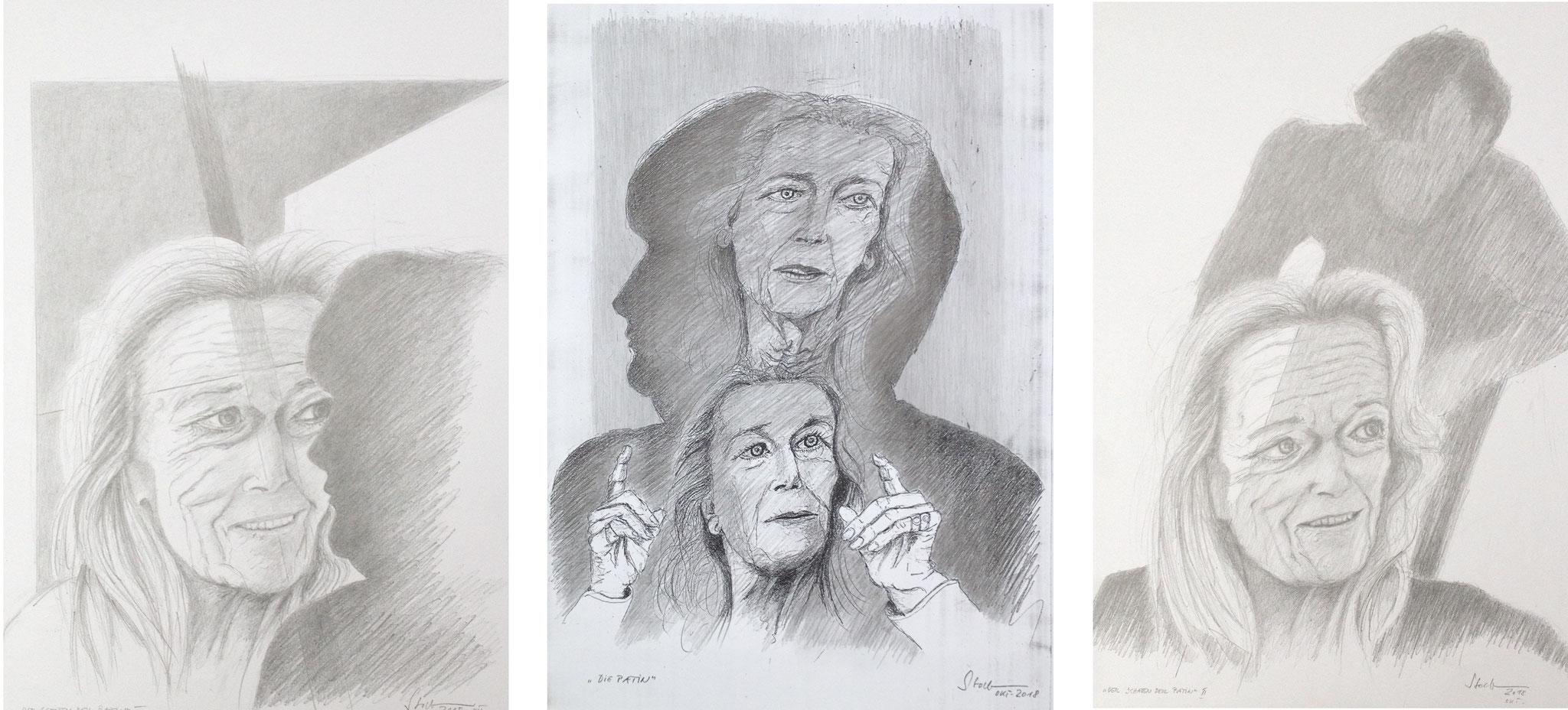 """""""Der Schatten der Patin"""" (Gertrud Höhler/Angela Merkel), Triptychon I, 2018, Zeichnung (#986)"""