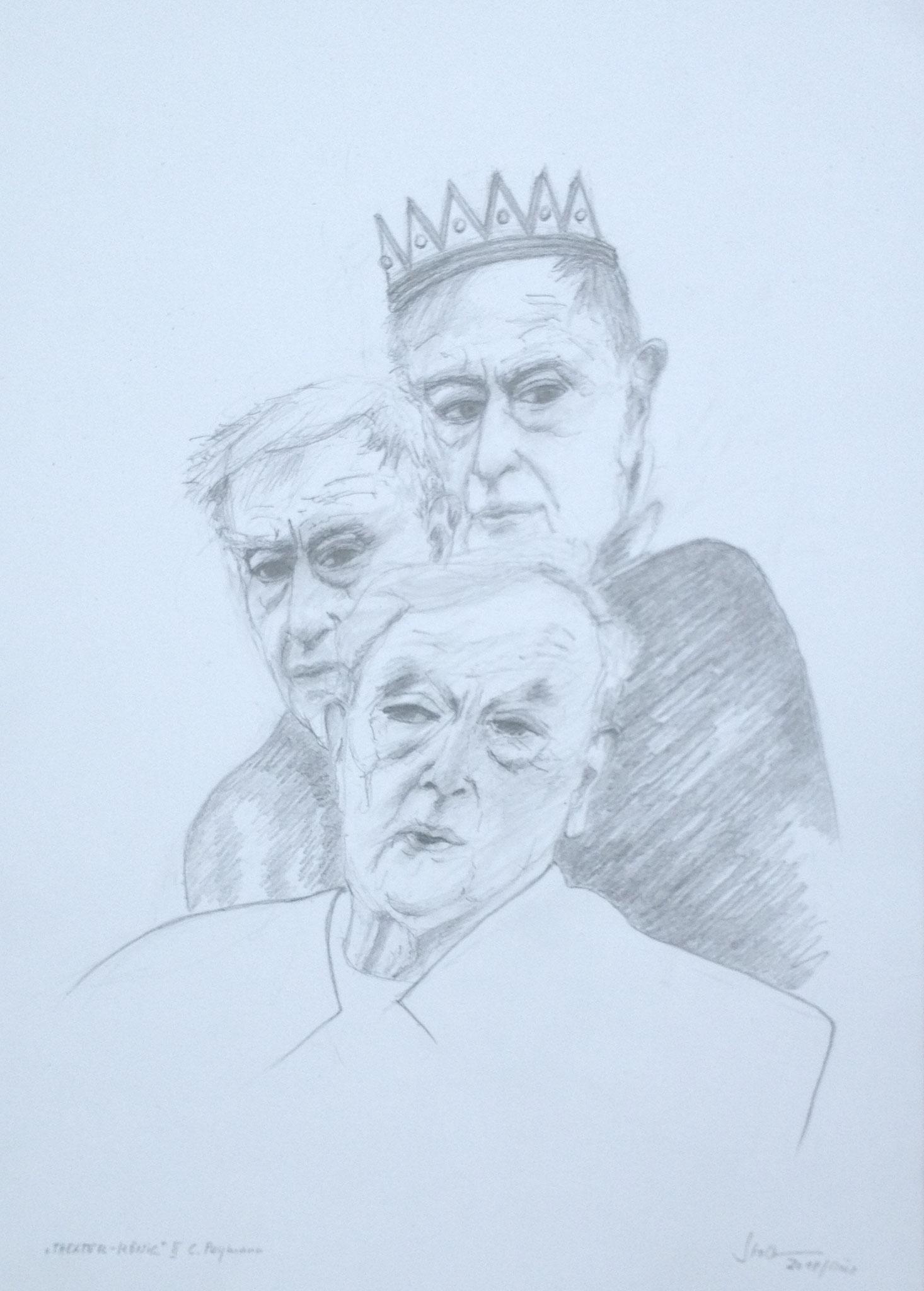 """""""Theater-König III"""", 2018, Zeichnung, 40 x 30 cm (#943)"""