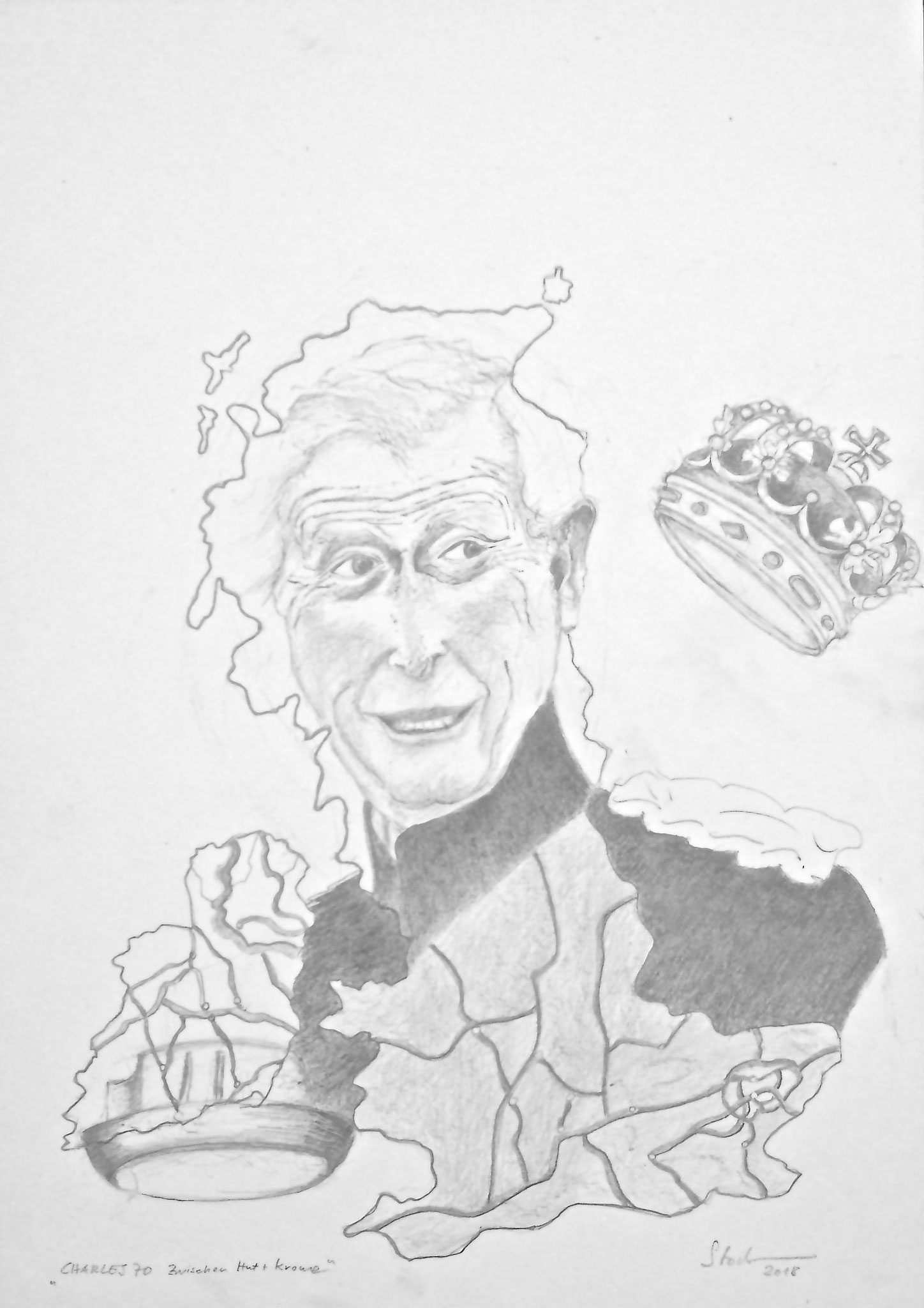 Prinz Charles 70, Zwischen Hut und Krone, 2018, Zeichnung, 40 x 30 cm (#992)