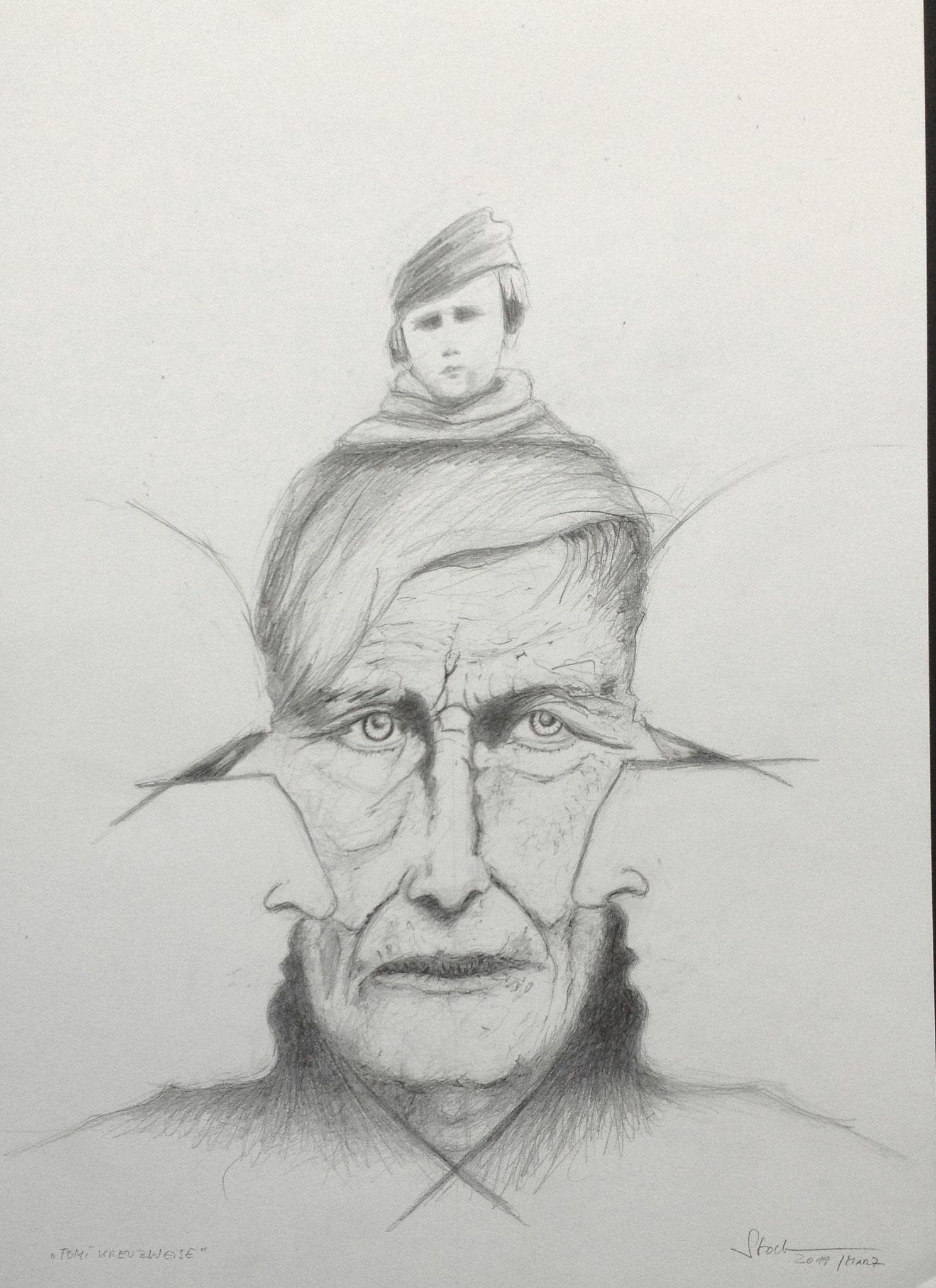 Tomi Ungerer kreuzweise 2, 2019, Zeichnung, 40 x 30 cm (#1013)