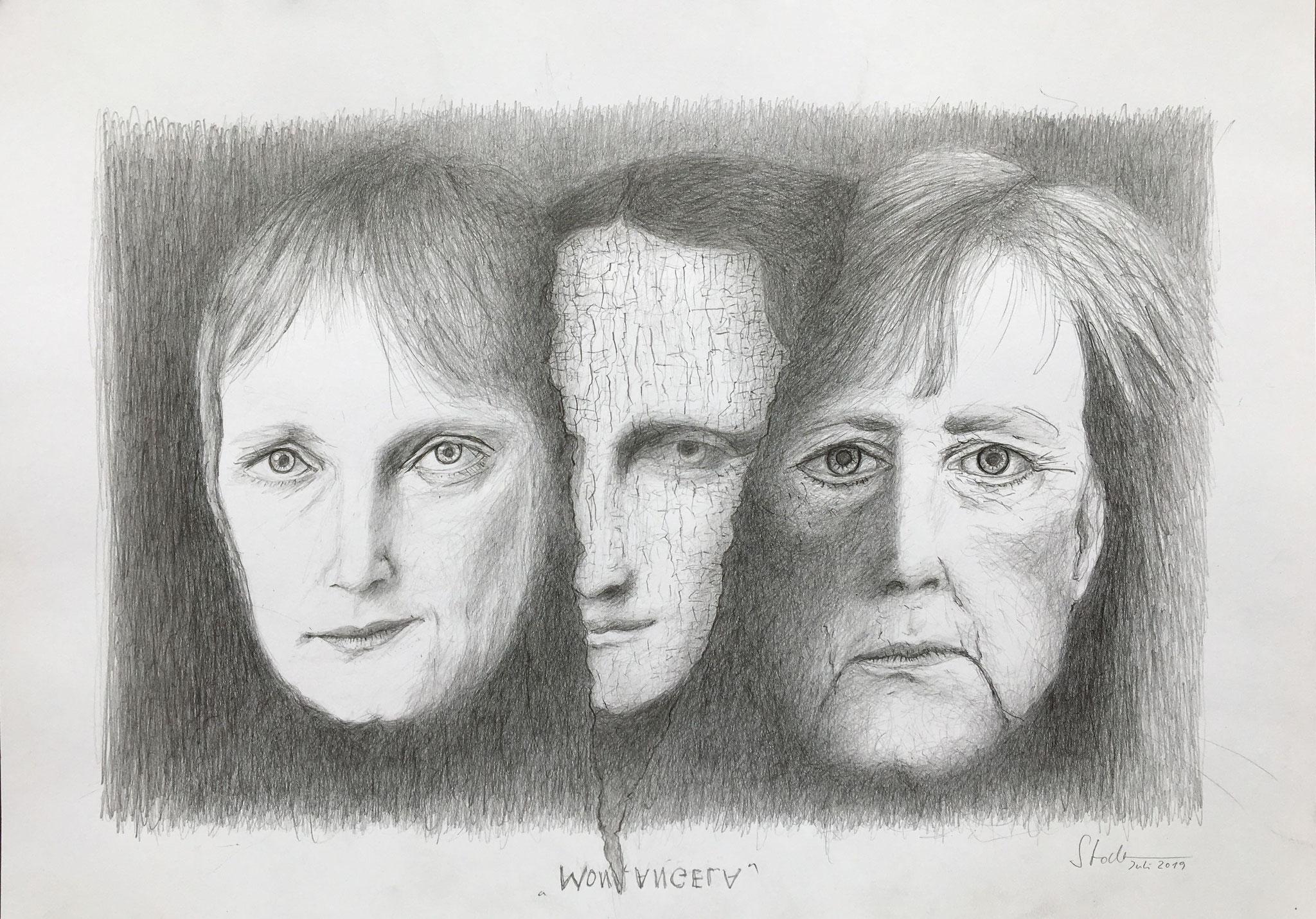 Mon Angela (Mona Lisa und Angela Merkel), 2019, Zeichnung, 30 x 40 cm (#1029)