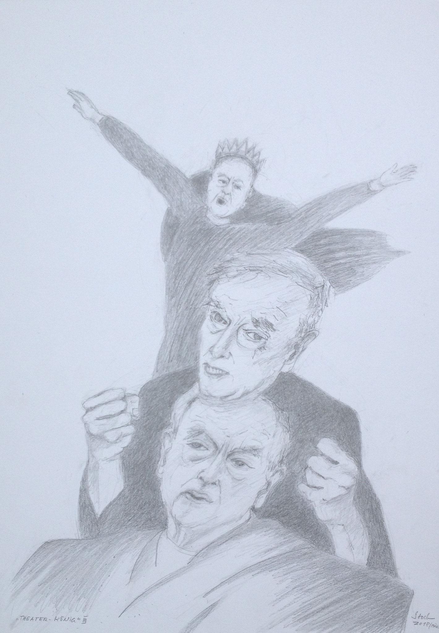 """""""Theater-König II"""", 2018, Zeichnung, 40 x 30 cm (#944)"""