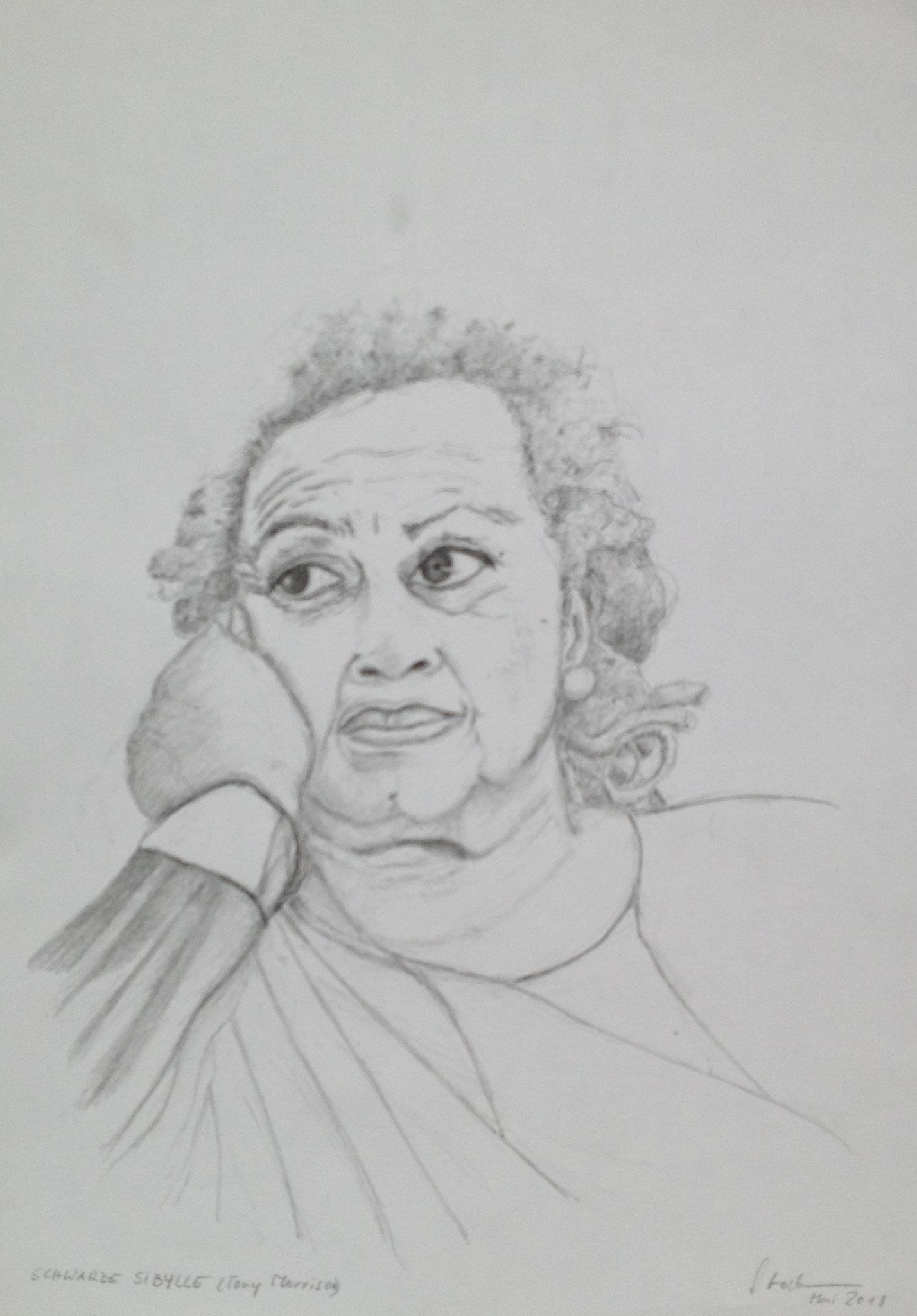 """""""Schwarze Sibylle"""" (Toni Morrison), 2018, Zeichnung, 40 x 30 cm (#952)"""