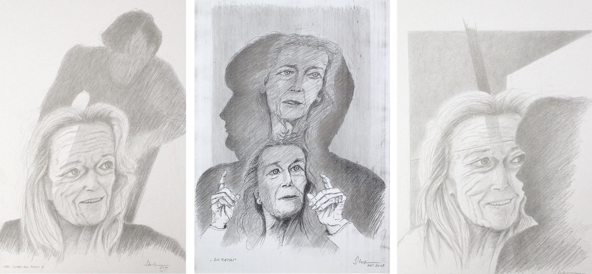 """""""Der Schatten der Patin"""" (Gertrud Höhler/Angela Merkel), Triptychon I, 2018, Zeichnung (#987)"""