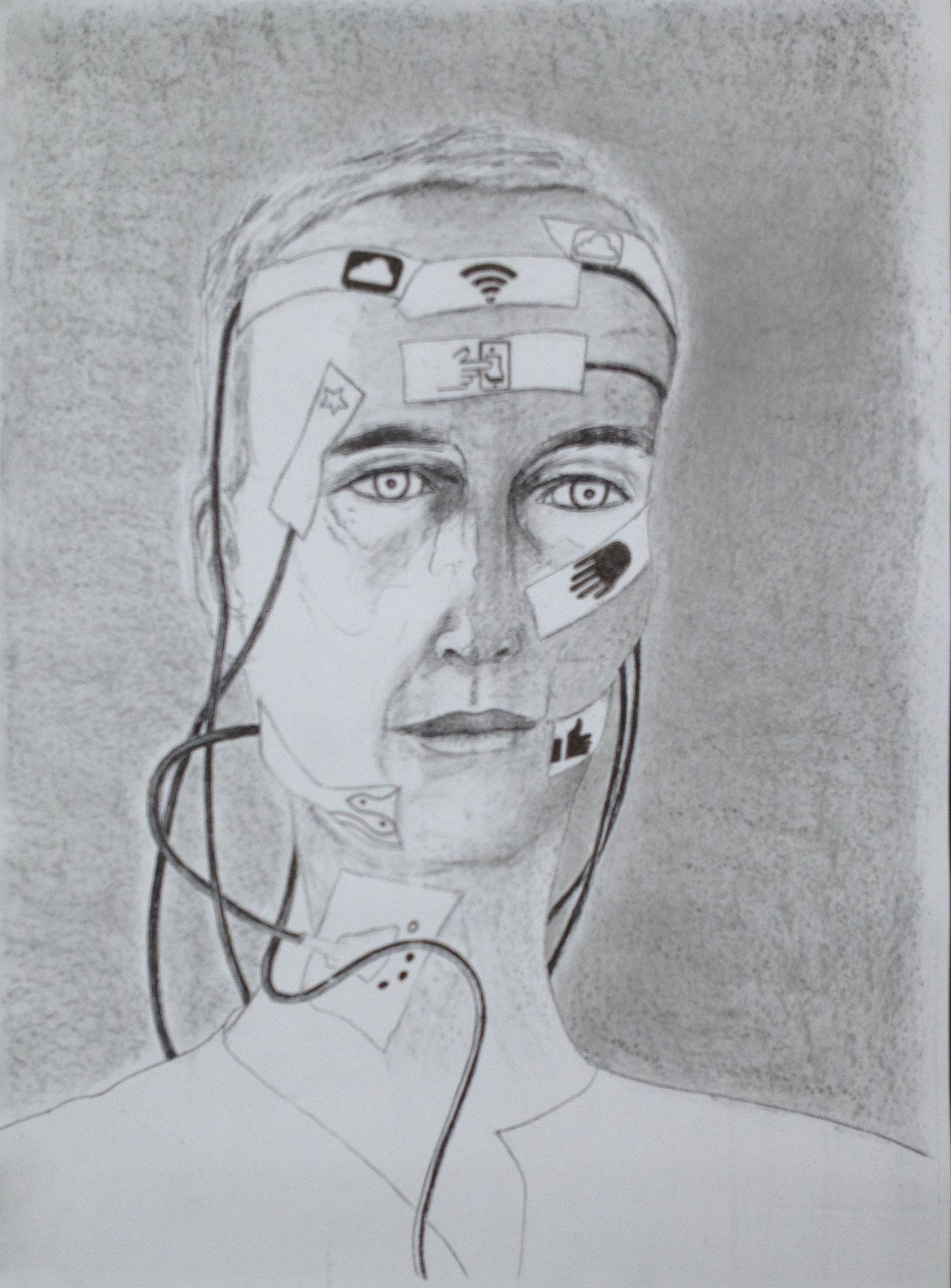 """""""Piktogrammiert"""", 2017, Mischtechnik, 40 x 30 cm (#927)"""