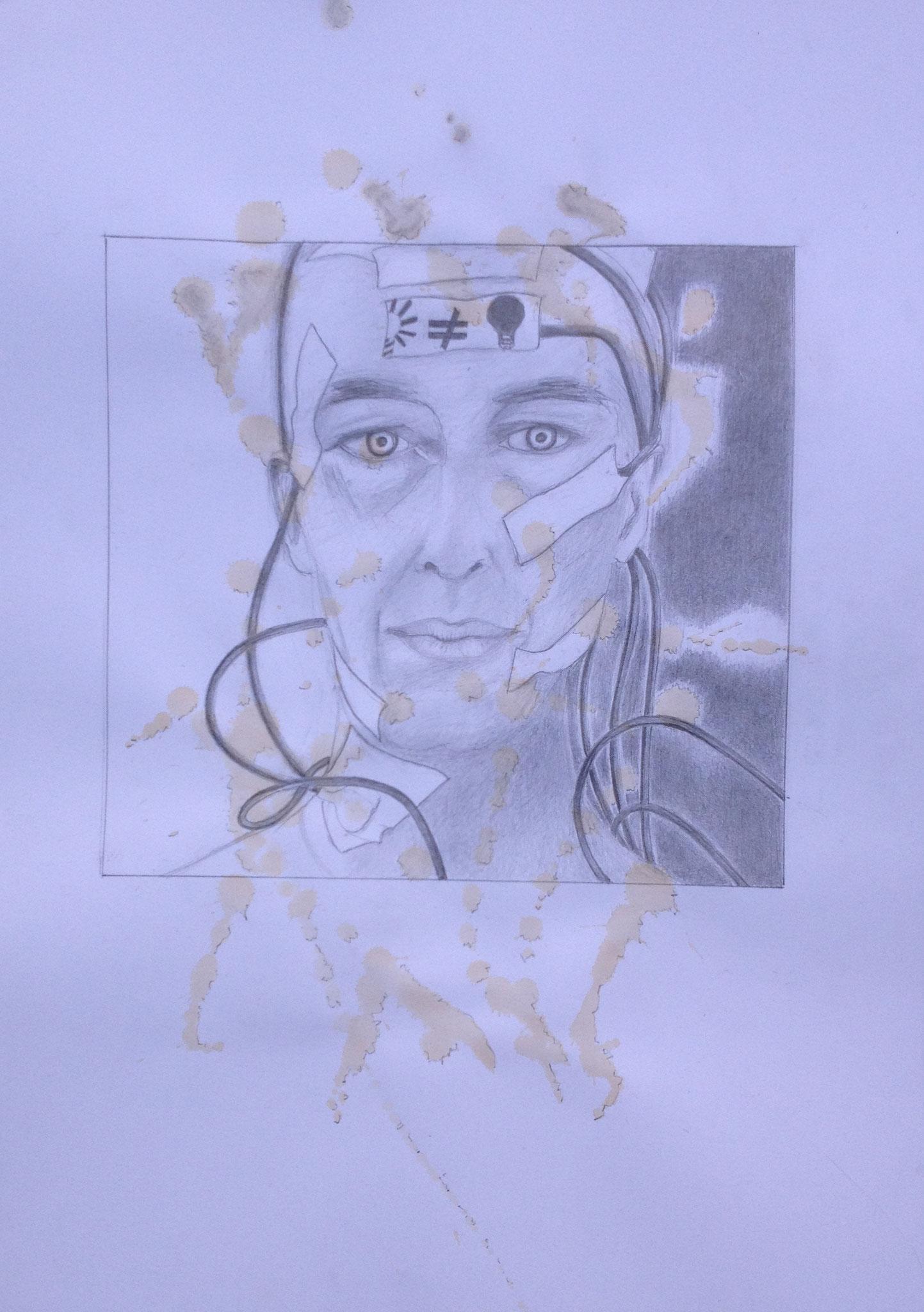 """""""Im Schlaflabor"""", 2017, Zeichnung, 40 x 30 cm (#928)"""