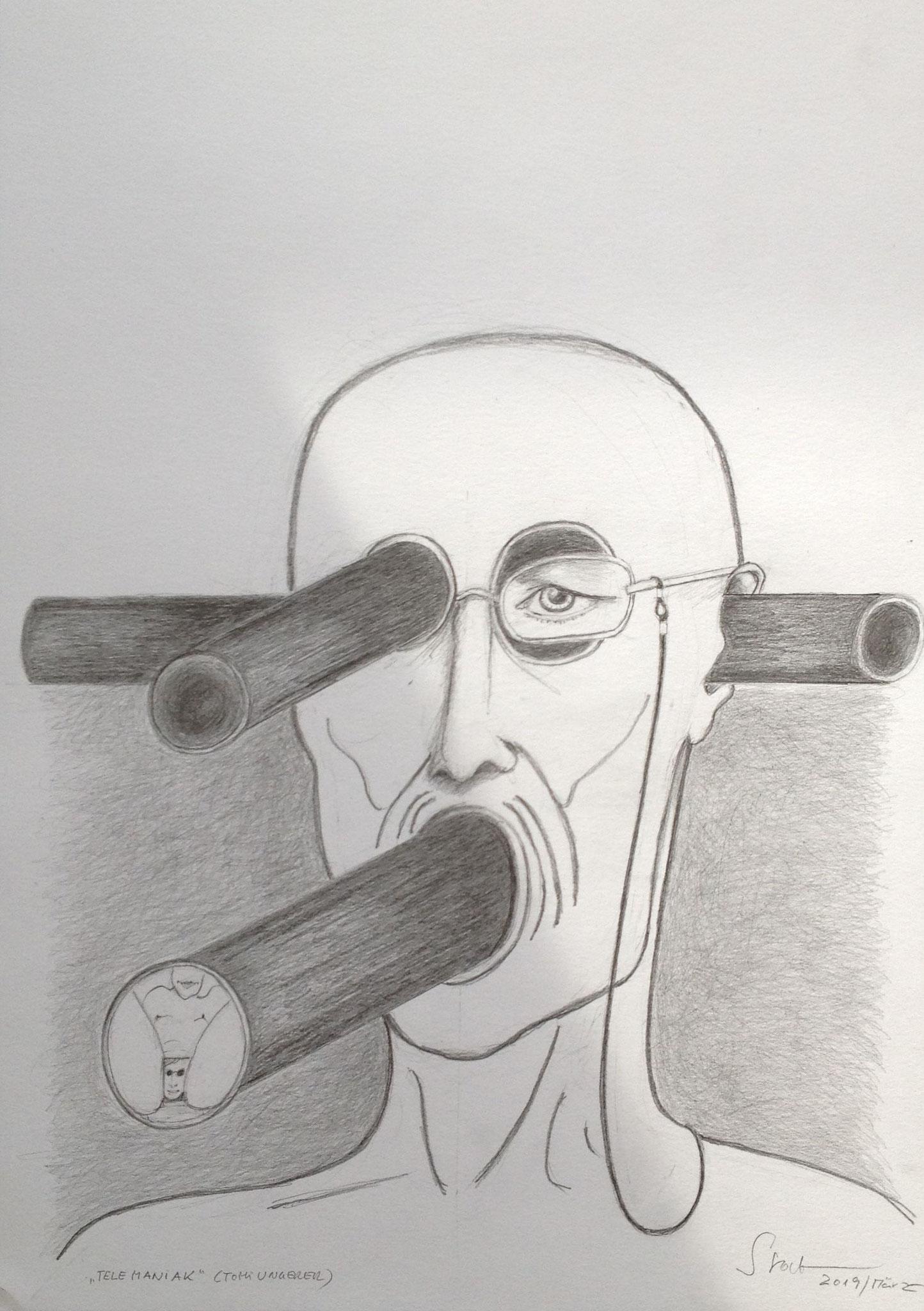 Telemaniak (Tomi Ungerer), 2019, Zeichnung, 40 x 30 cm (#1010)