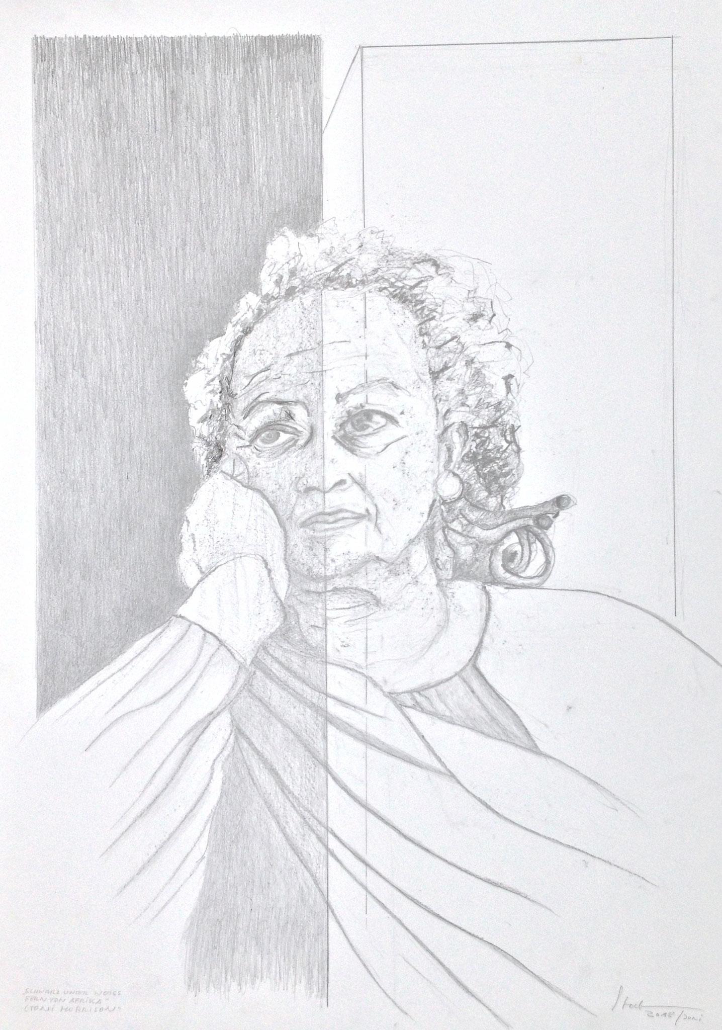 """""""Schwarz unter Weiß, fern von Afrika"""" (Toni Morrison), 2018, Zeichnung, 70 x 50 cm (#953)"""
