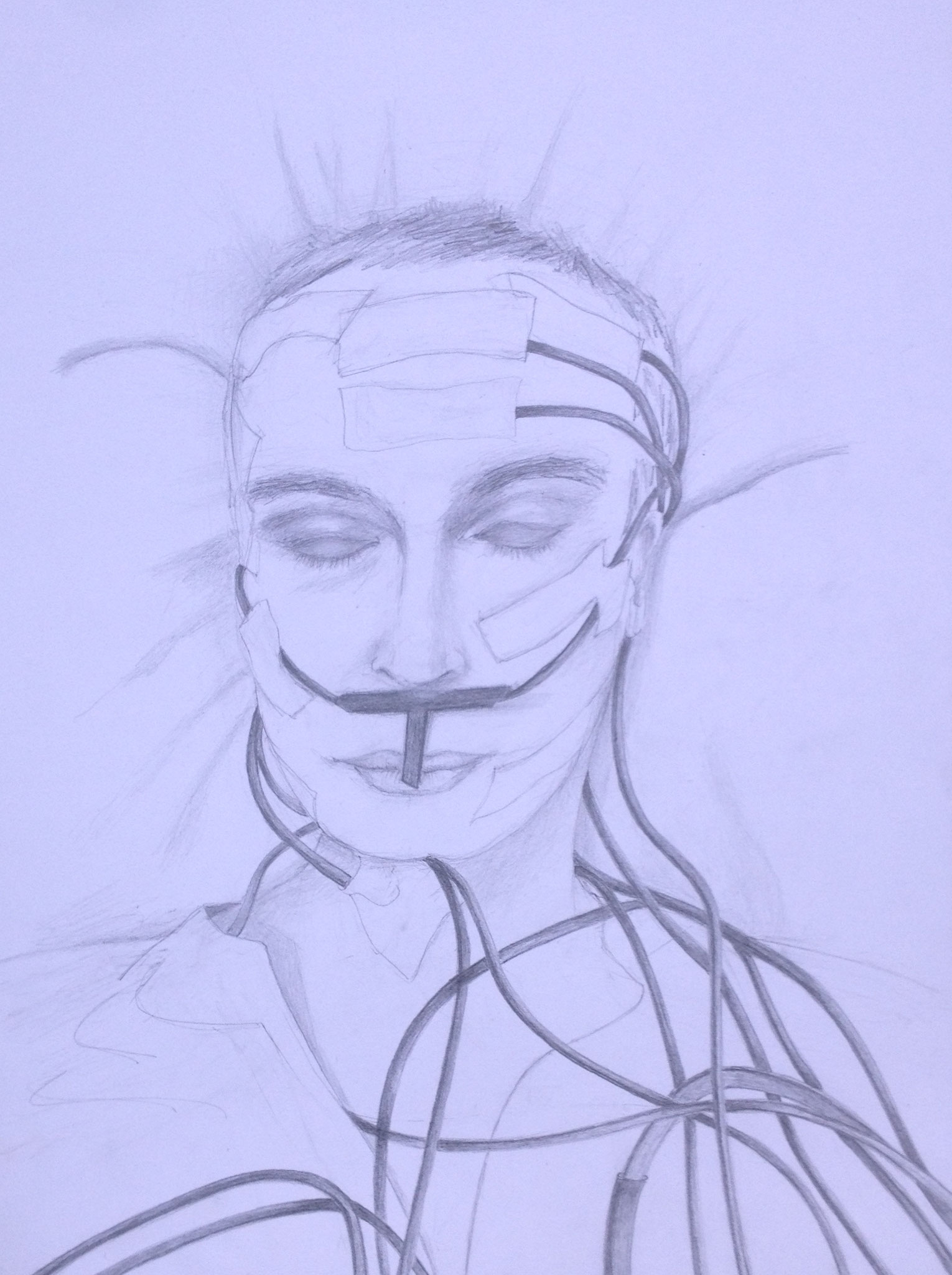 """""""Schlafend"""", 2017, Zeichnung, 40 x 30 cm (#929)"""