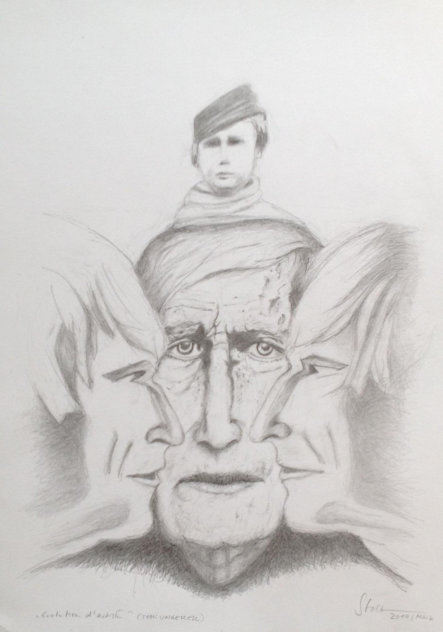 Evolution d'artiste (Tomi Ungerer), 2019, Zeichnung, 40 x 30 cm (#1009)