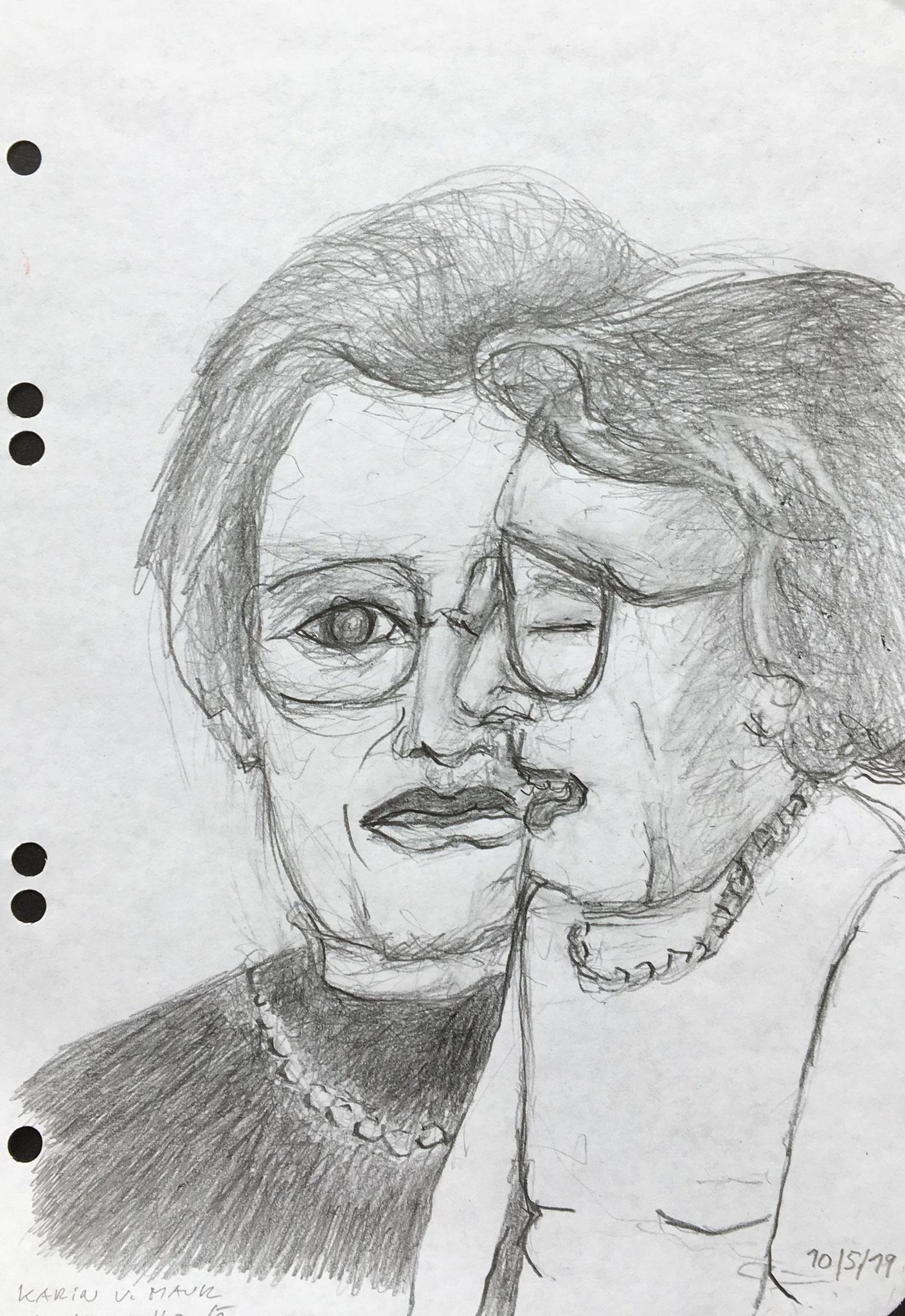 Zeitsprung (Karin von Maur), 2019, Zeichnung, 21 x 15 cm (#1024)