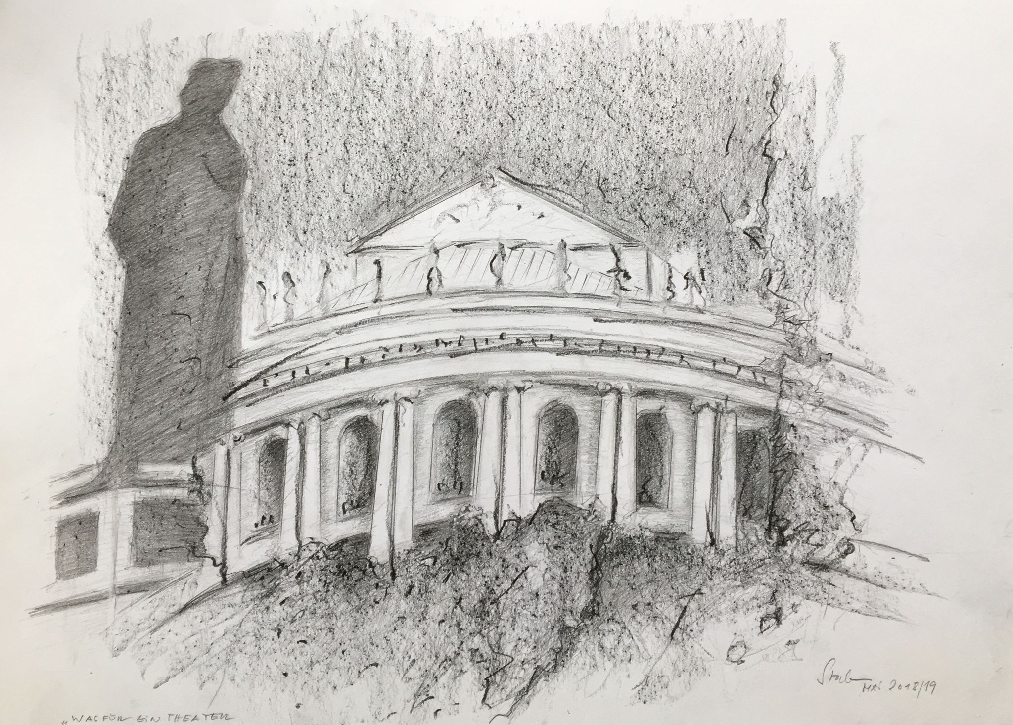 Soviel Theater ums Theater (Schiller überwacht die Stuttgarter Opernhaus-Sanierung), 2019, Zeichnung, 30 x 40 cm (#1031)