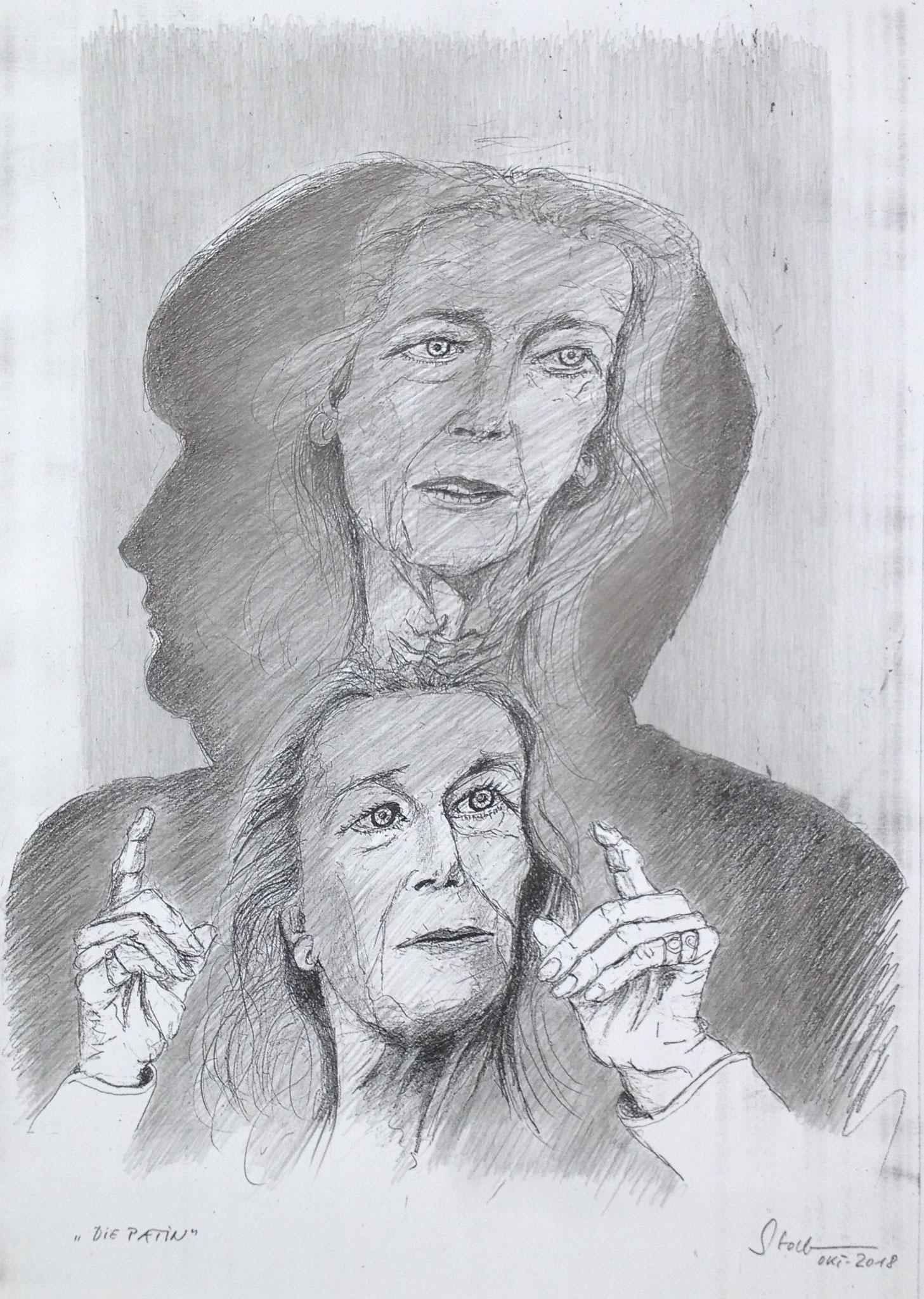 """""""Die Patin"""" (Gertrud Höhler im Schatten von Angela Merkel), 2018, Zeichnung (#979)"""