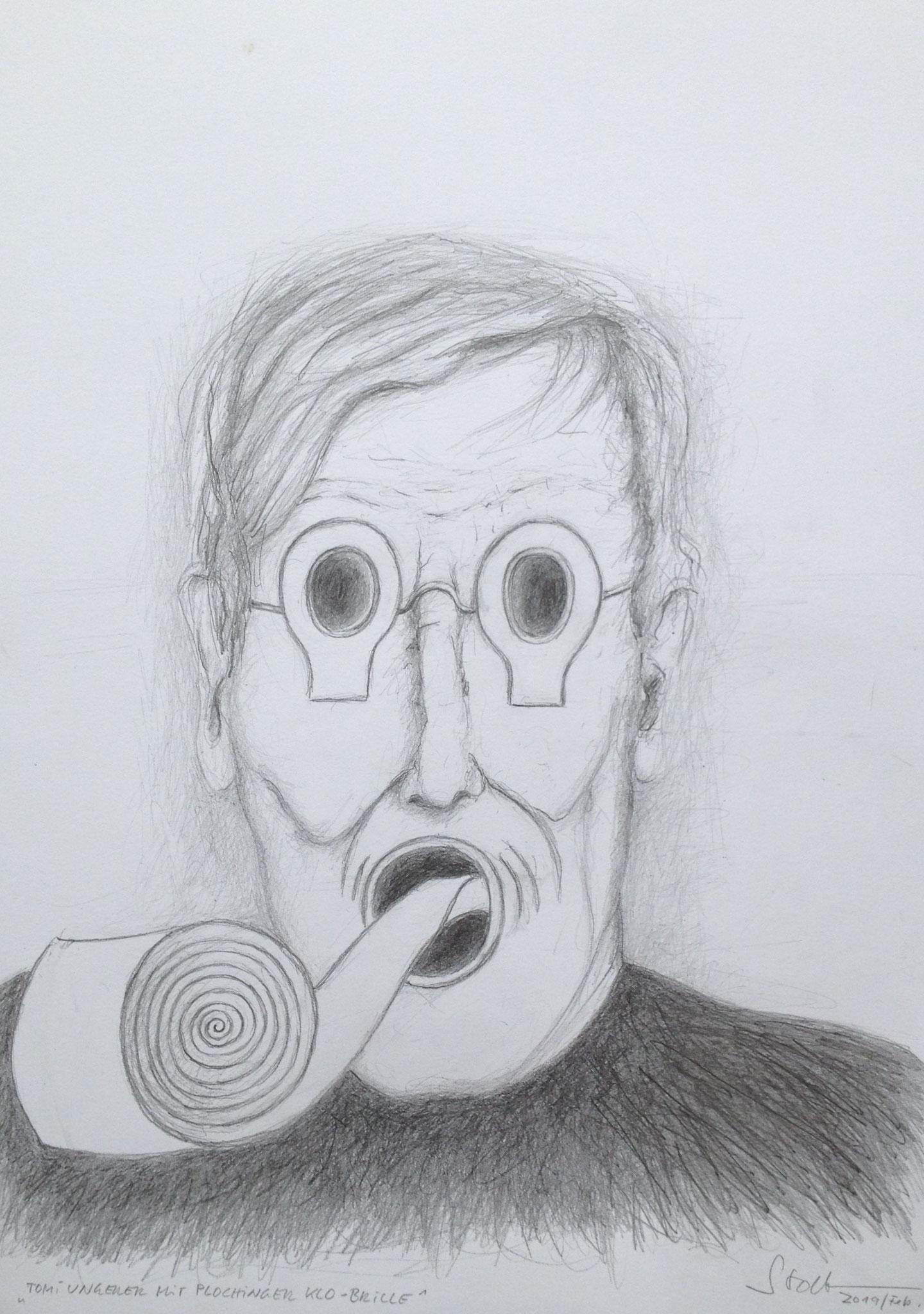 Tomi Ungerer mit Plochinger Klobrille, 2019, Zeichnung, 40 x 30 cm (#1007)