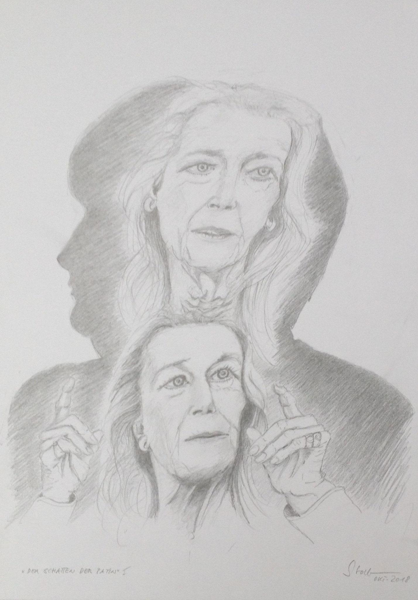 """""""Der Schatten der Patin I"""", 2018, Zeichnung (#982)"""