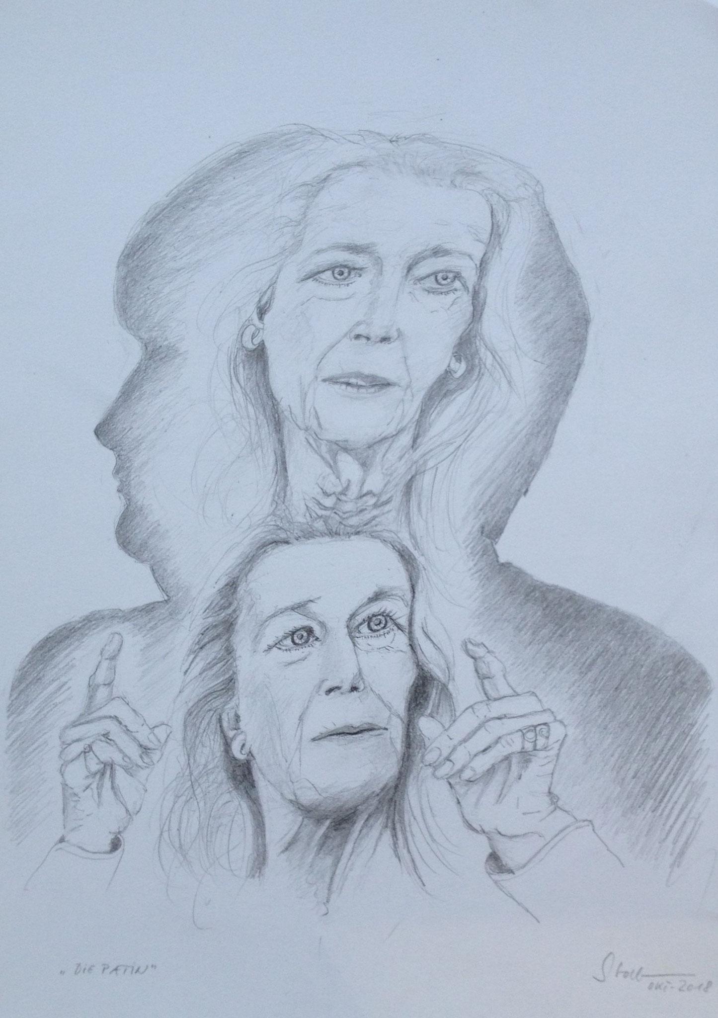 """""""Die Patin"""" (Gertrud Höhler im Schatten von Angela Merkel), 2018, Zeichnung (#977)"""