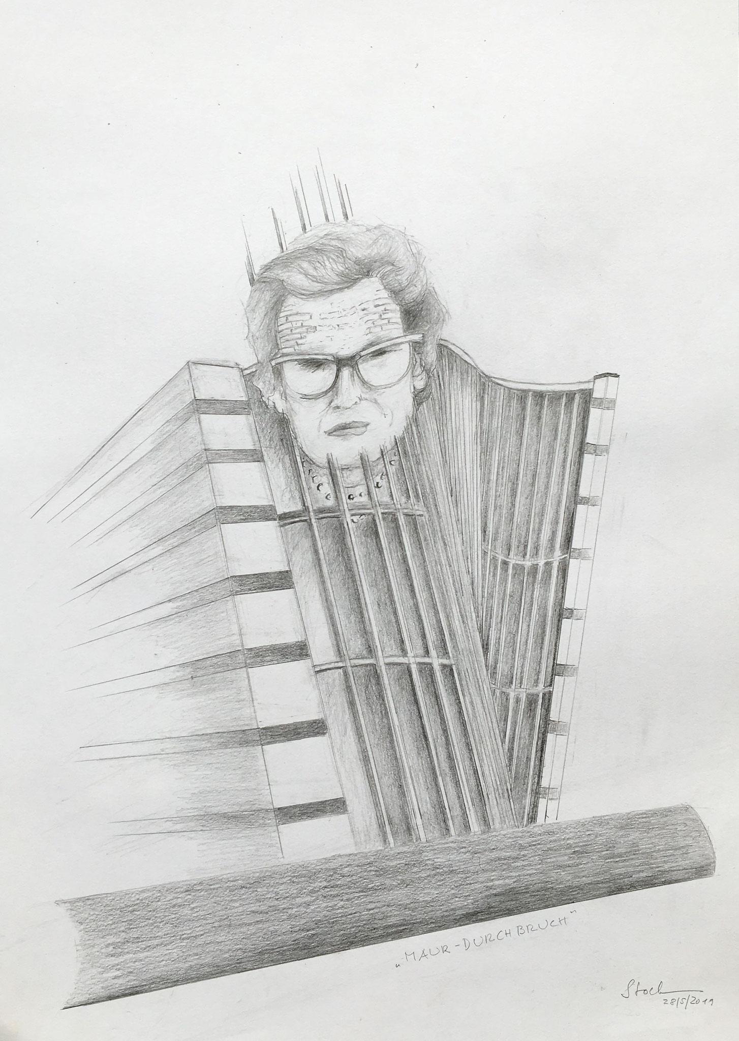 Maur-Durchbruch 2(Karin von Maur), 2019, Zeichnung, 40 x 30 cm (#1023)