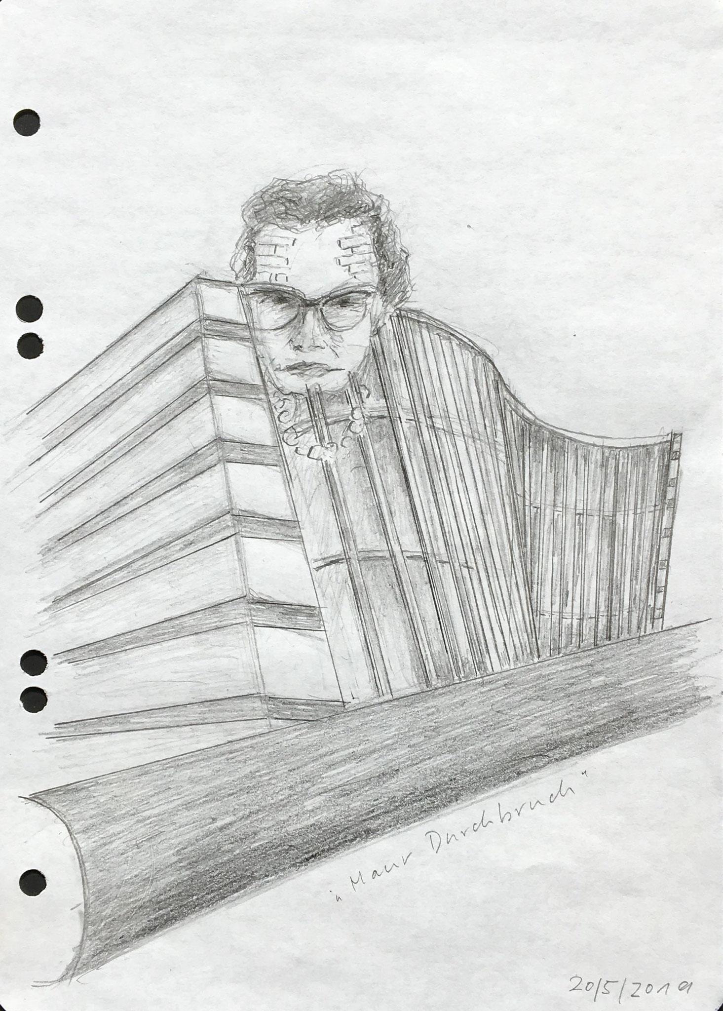 Maur-Durchbruch 1 (Karin von Maur), 2019, Zeichnung, 21 x 15 cm (#1022)